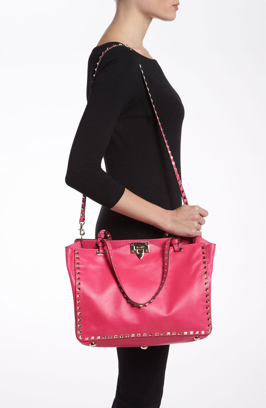 Alternate Image 2  - Valentino 'Rockstud - Medium' Double Handle Leather Tote
