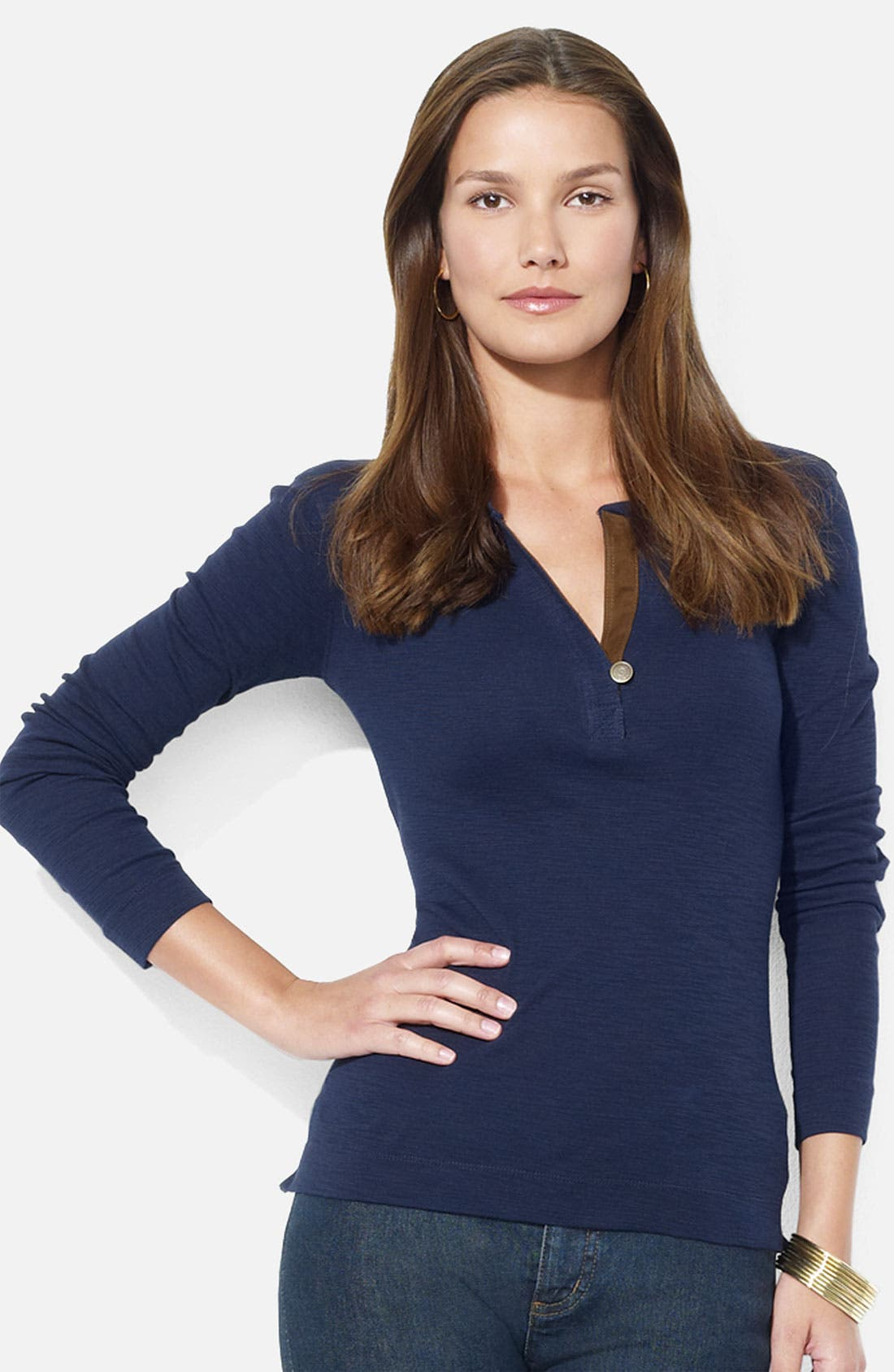Alternate Image 1 Selected - Lauren Ralph Lauren One Button Henley Tee (Petite) (Online Exclusive)