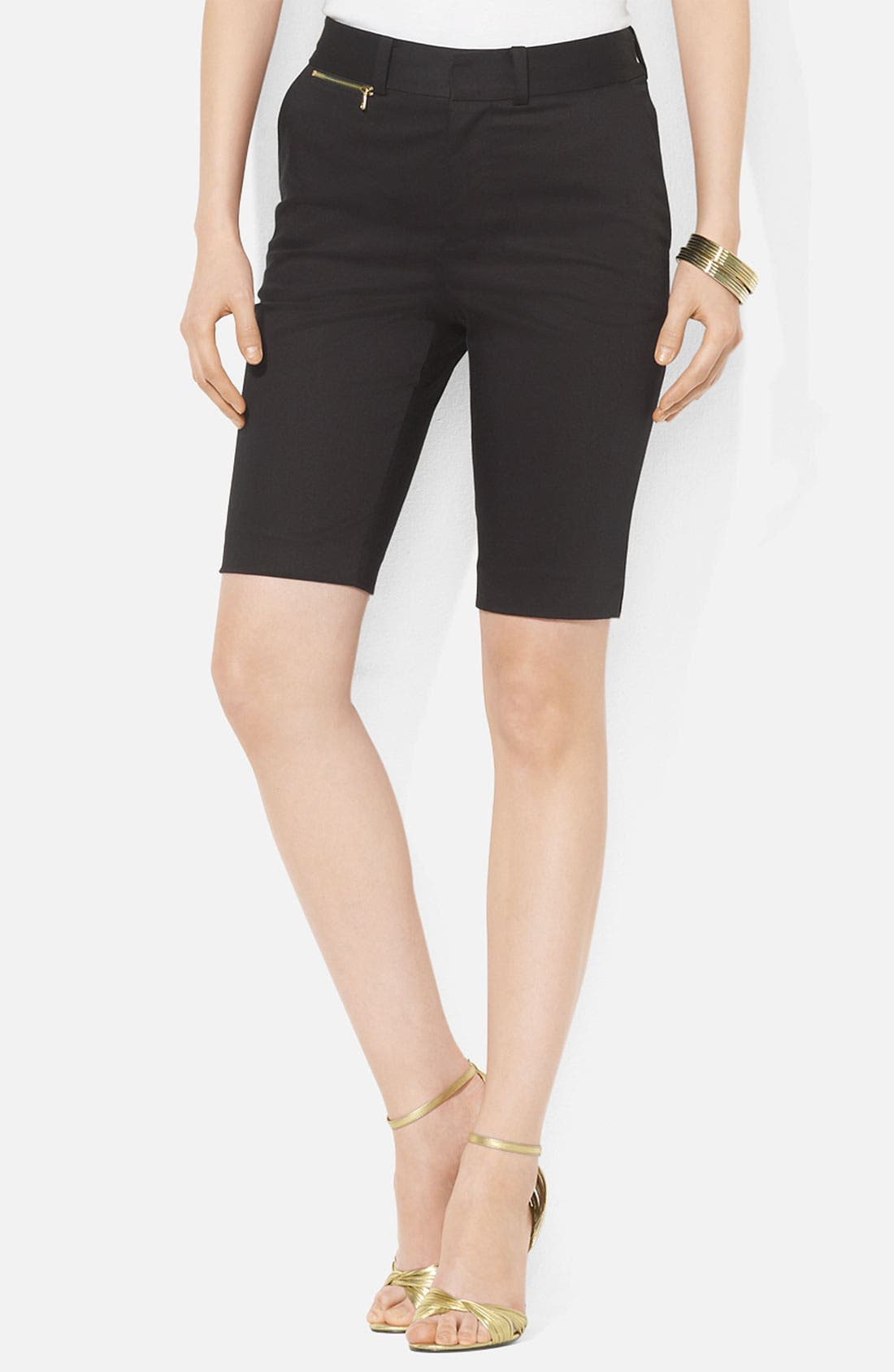 Alternate Image 1 Selected - Lauren Ralph Lauren Zip Coin Pocket Bermuda Shorts (Petite)