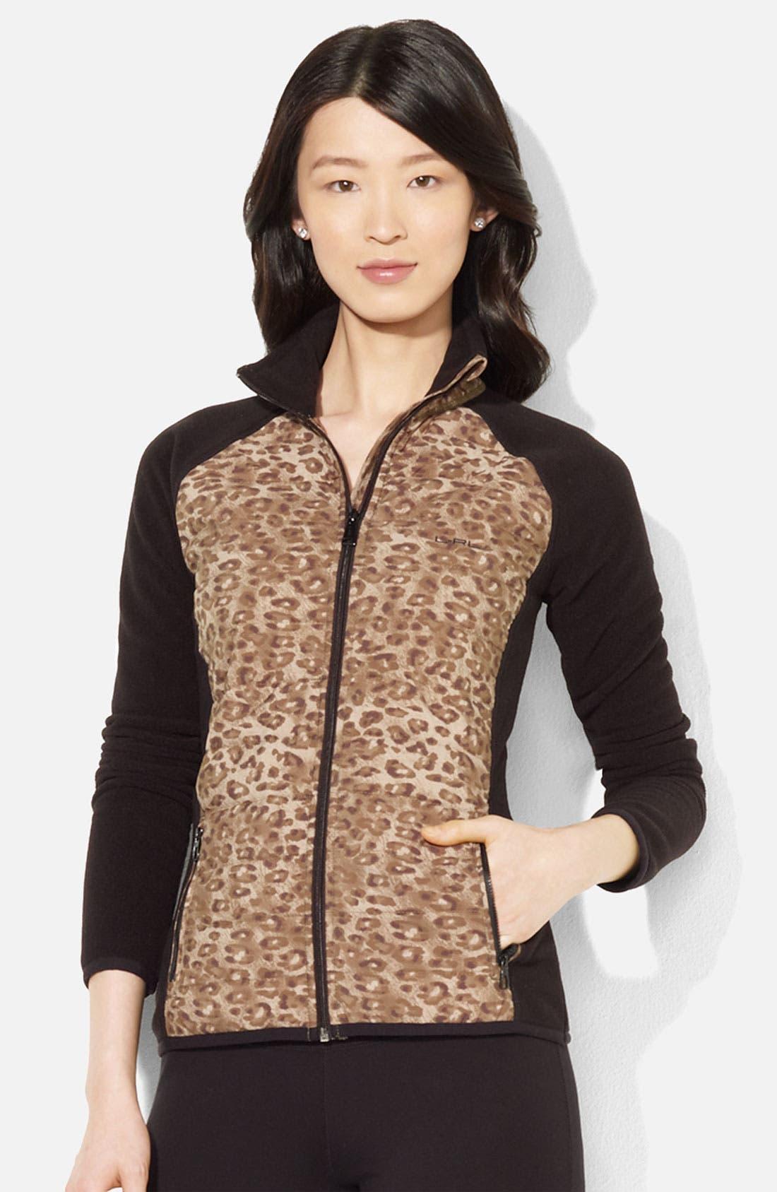Main Image - Lauren Ralph Lauren Print Front Fleece Jacket (Petite)