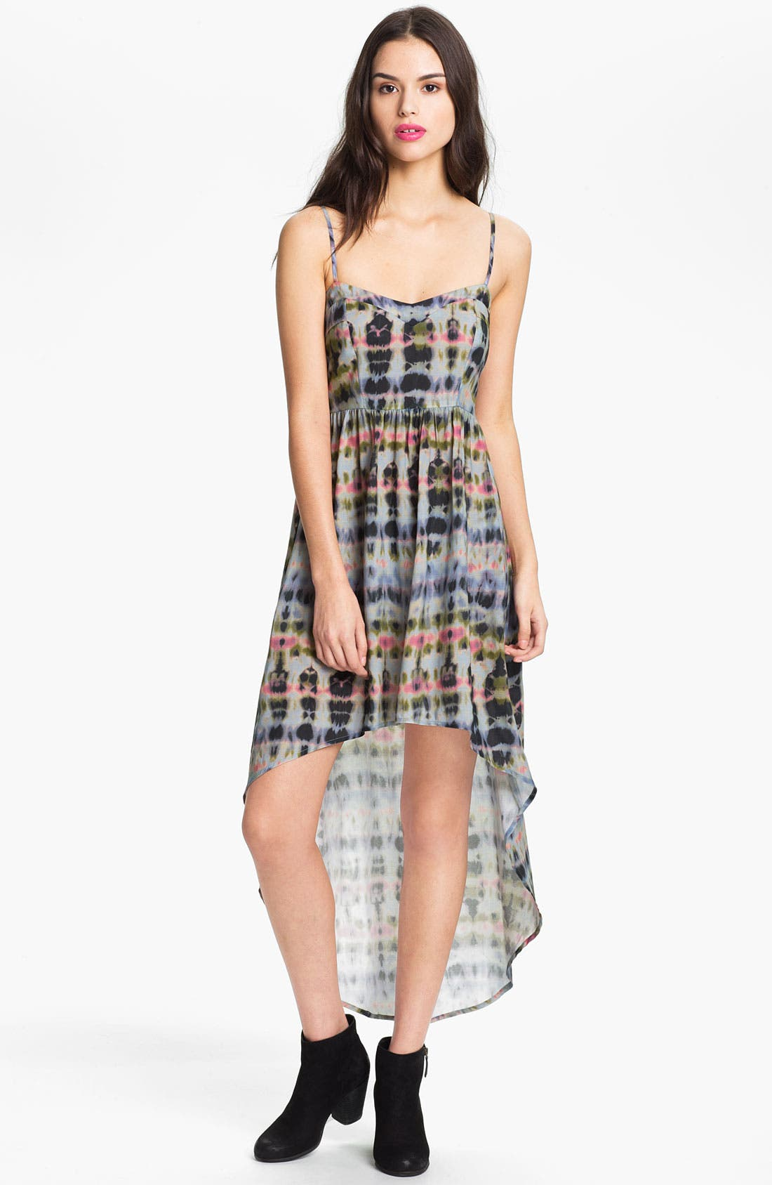 Alternate Image 1 Selected - Mimi Chica Tie Dye High/Low Dress (Juniors)