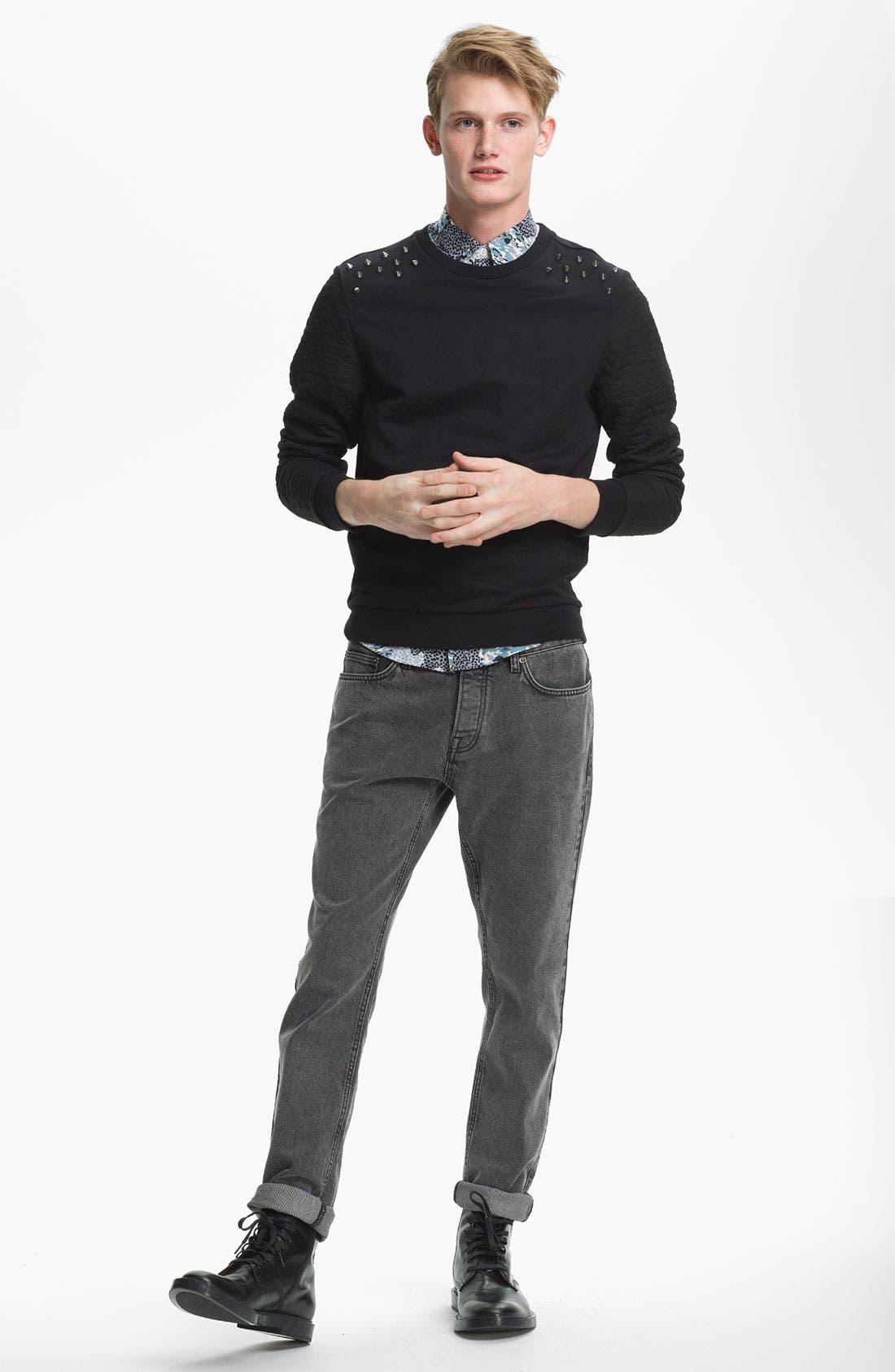 Alternate Image 5  - Topman Studded Skinny Fit Jeans