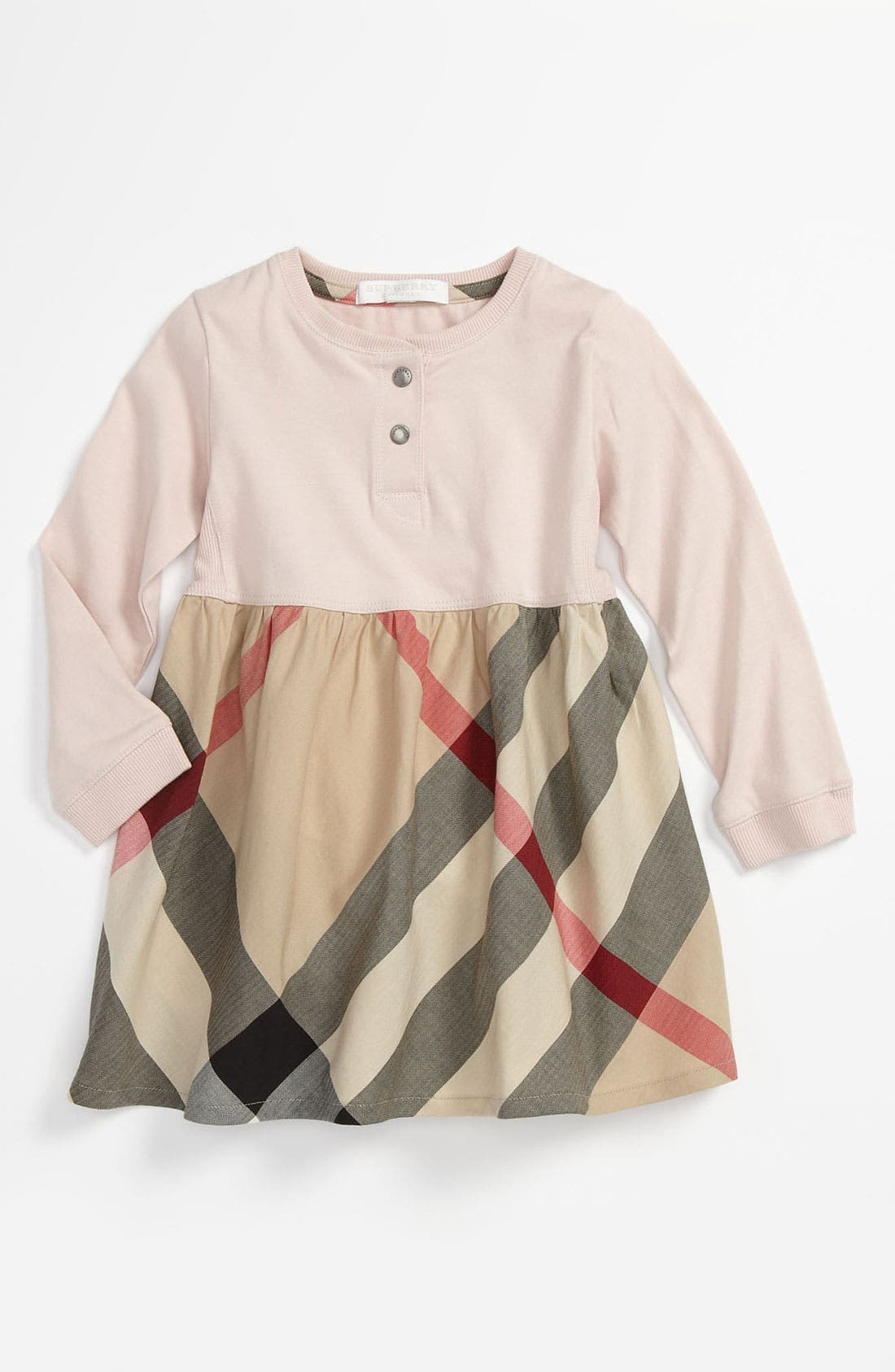 Main Image - Burberry Knit & Woven Dress (Infant)