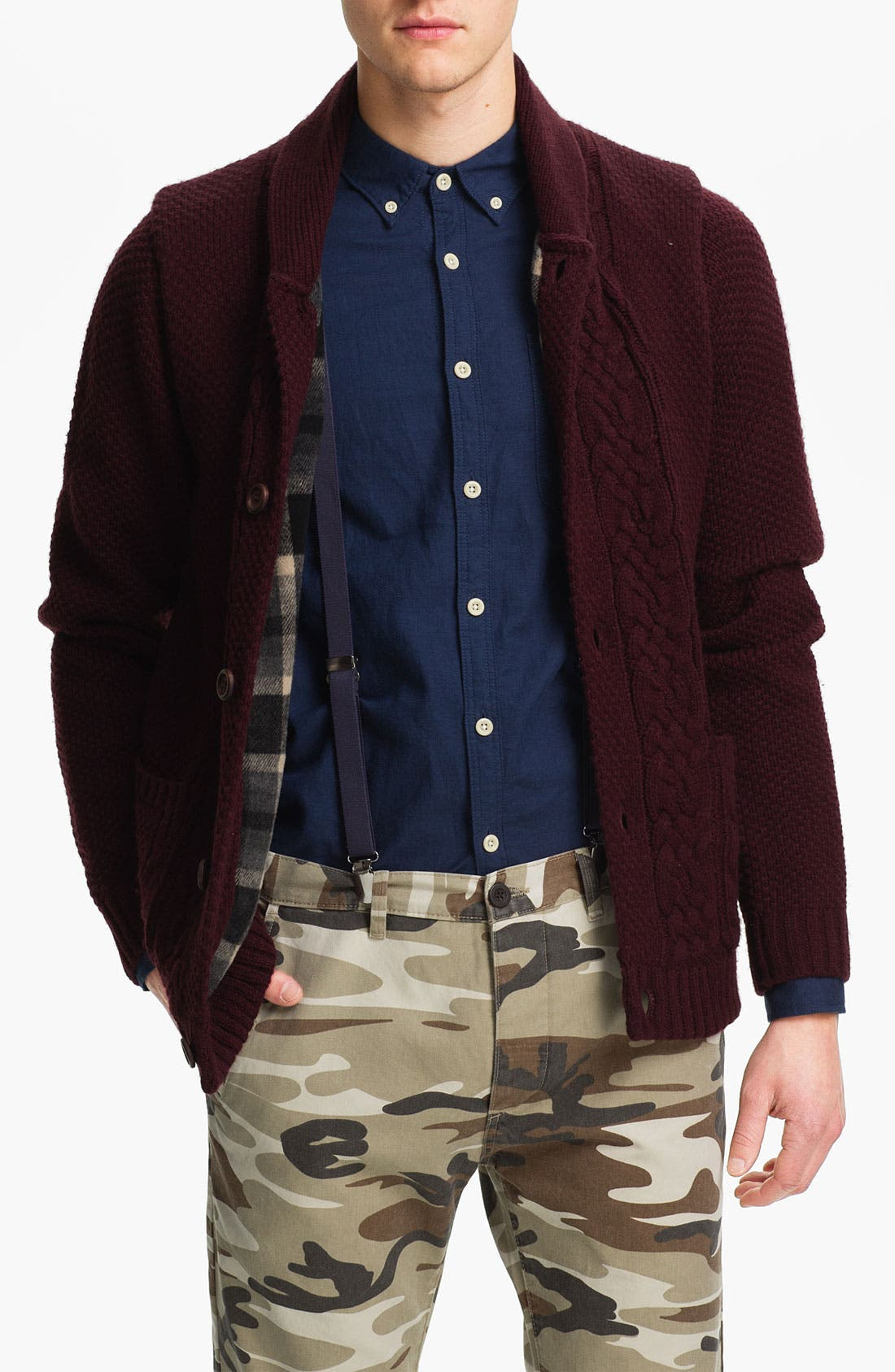Alternate Image 1 Selected - Topman Lined Cable Knit Shawl Collar Sweater