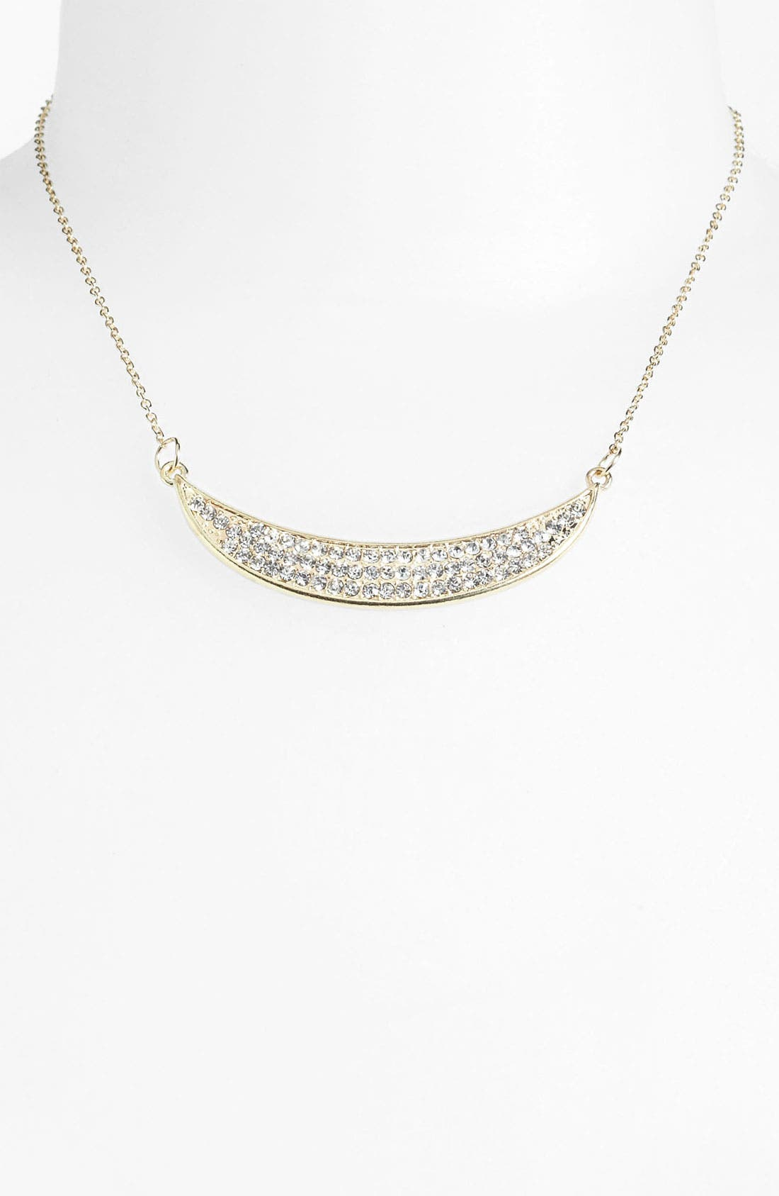 Main Image - Carole Rhinestone Crescent Necklace
