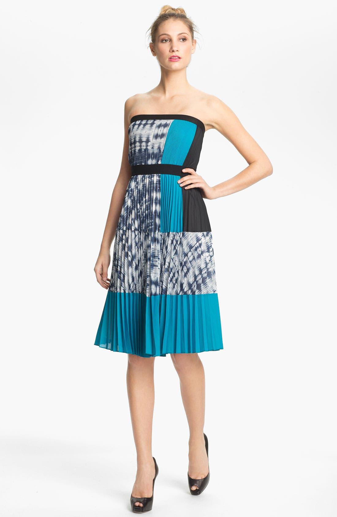 Main Image - BCBGMAXAZRIA Strapless Pleated Crepe Dress