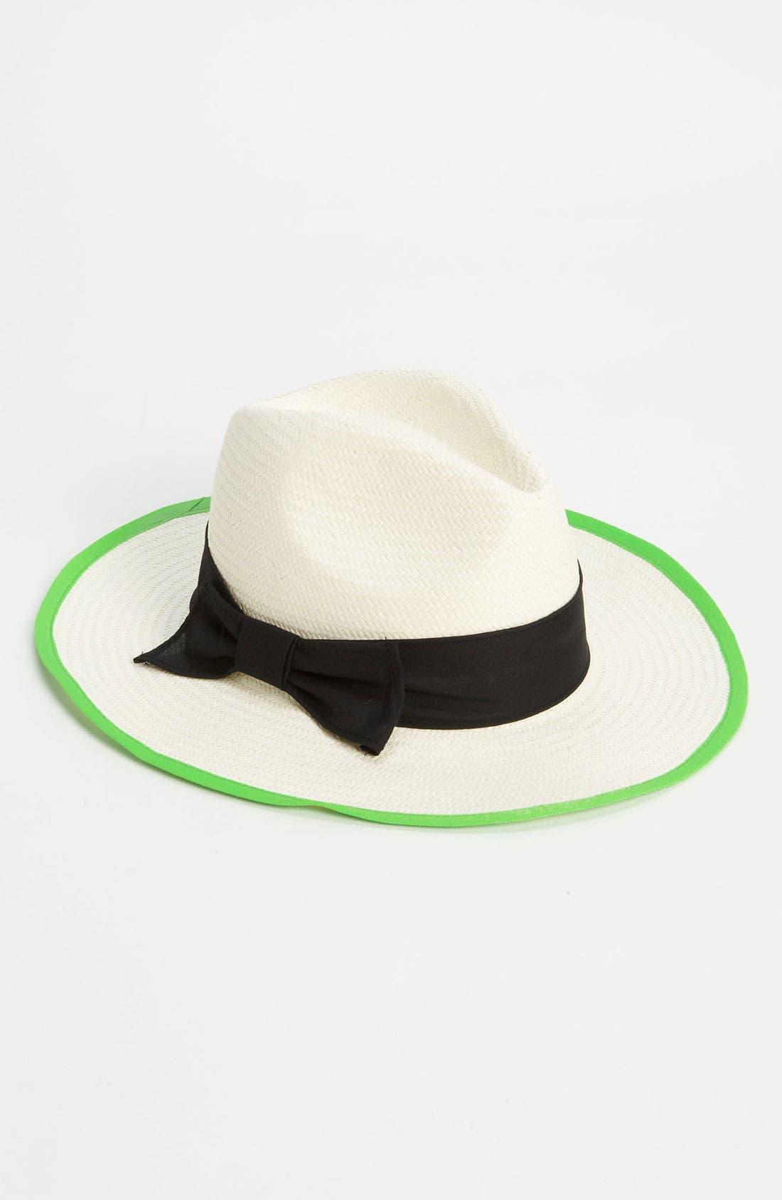 Main Image - Trouvé Neon Trim Straw Hat