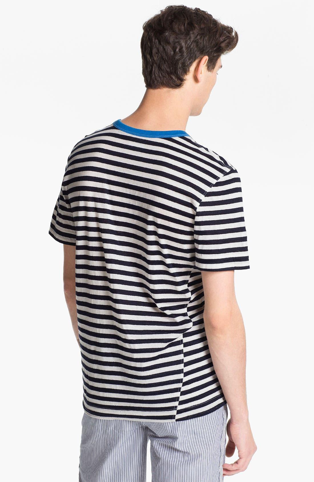 Alternate Image 2  - U Clothing 'Beau' Stripe Pocket Linen & Cotton T-Shirt