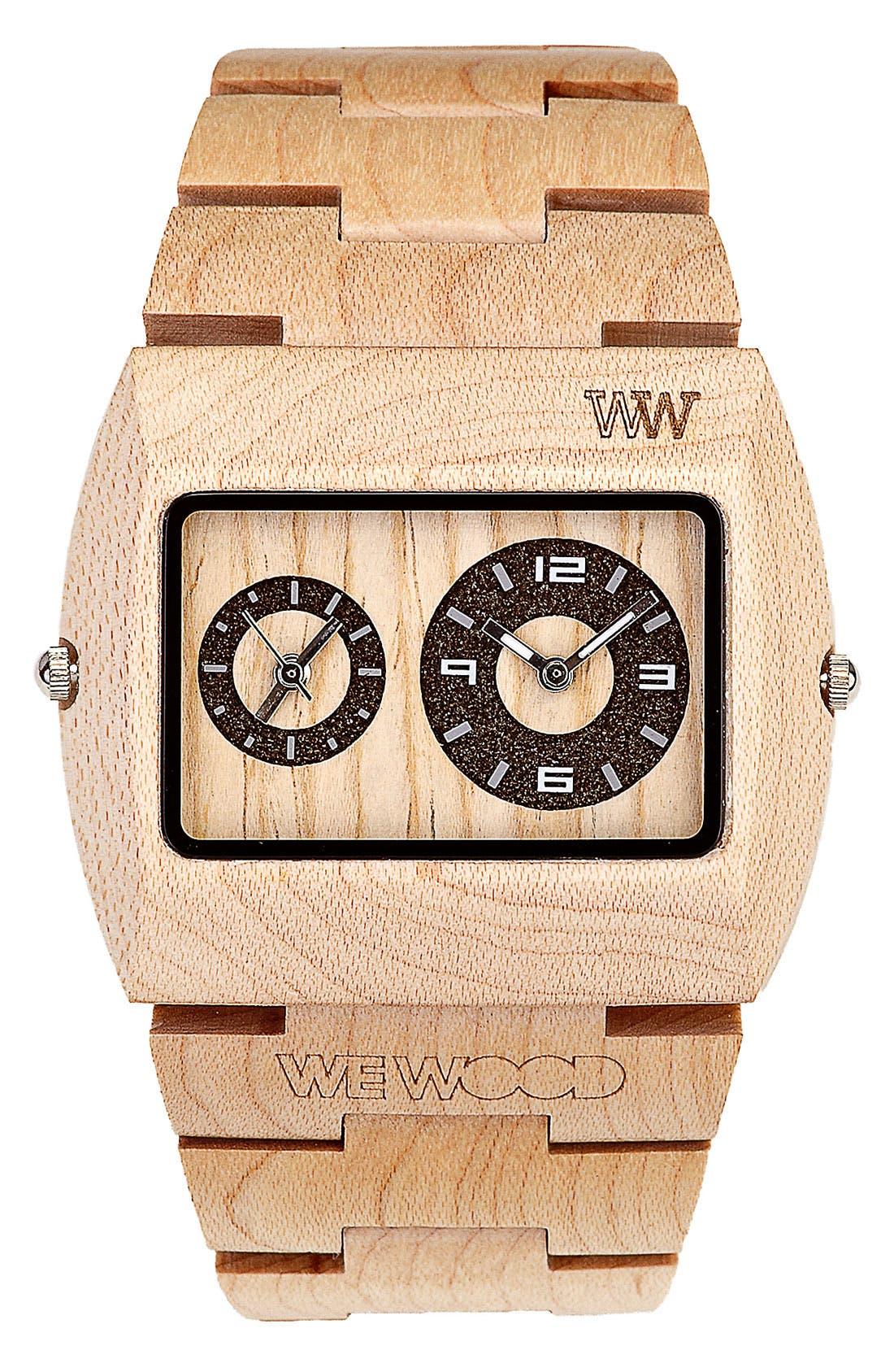 Main Image - WeWOOD 'Jupiter' Wood Watch, 46mm x 39mm