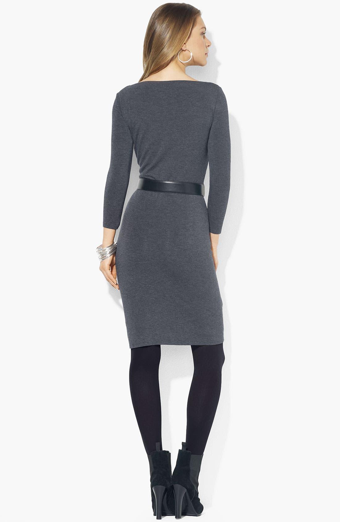 Alternate Image 2  - Lauren Ralph Lauren Boatneck Belted Jersey Dress
