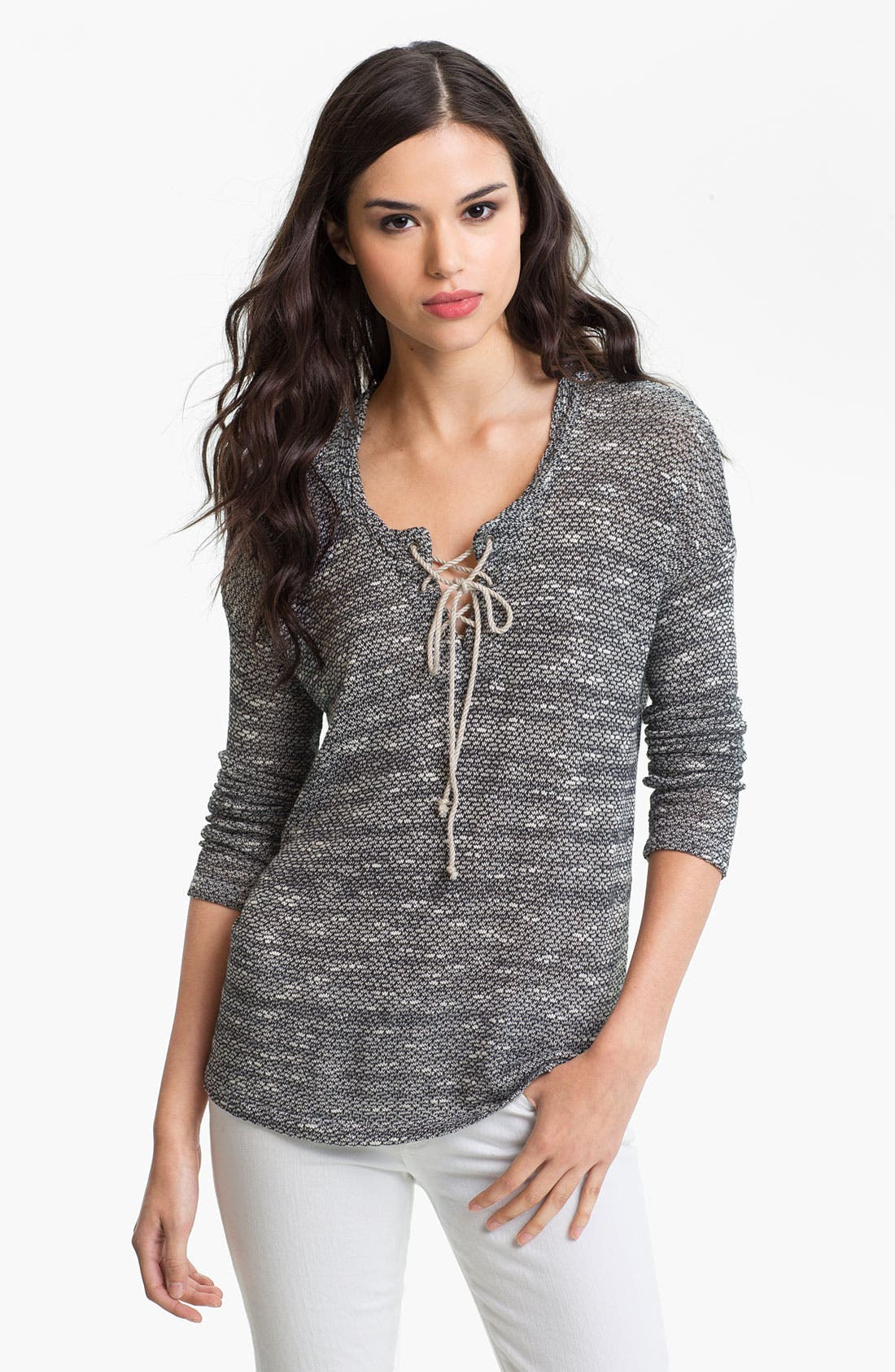 Main Image - Splendid 'Key West' Textured Lace-Up Top
