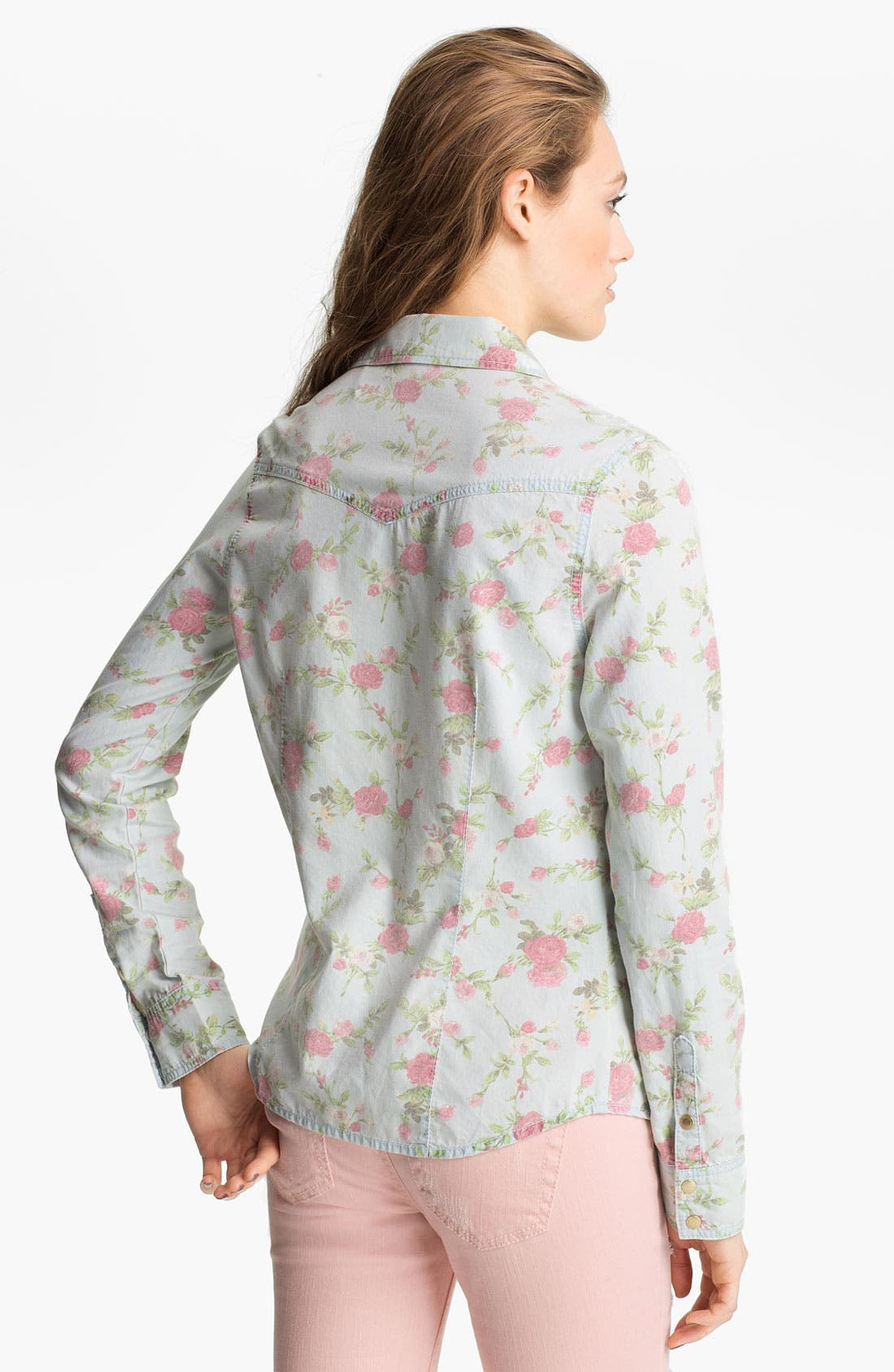 Alternate Image 2  - Fire Floral Chambray Shirt (Juniors)