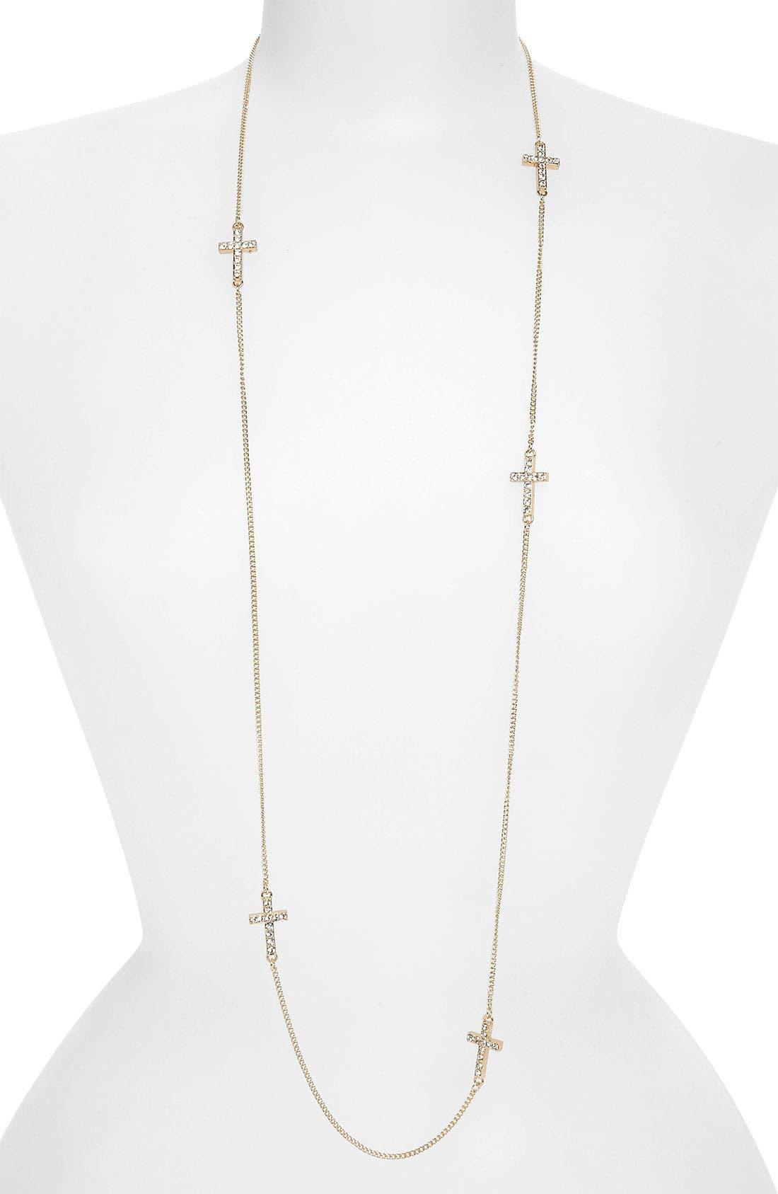 Main Image - BP. Rhinestone Cross Layering Necklace