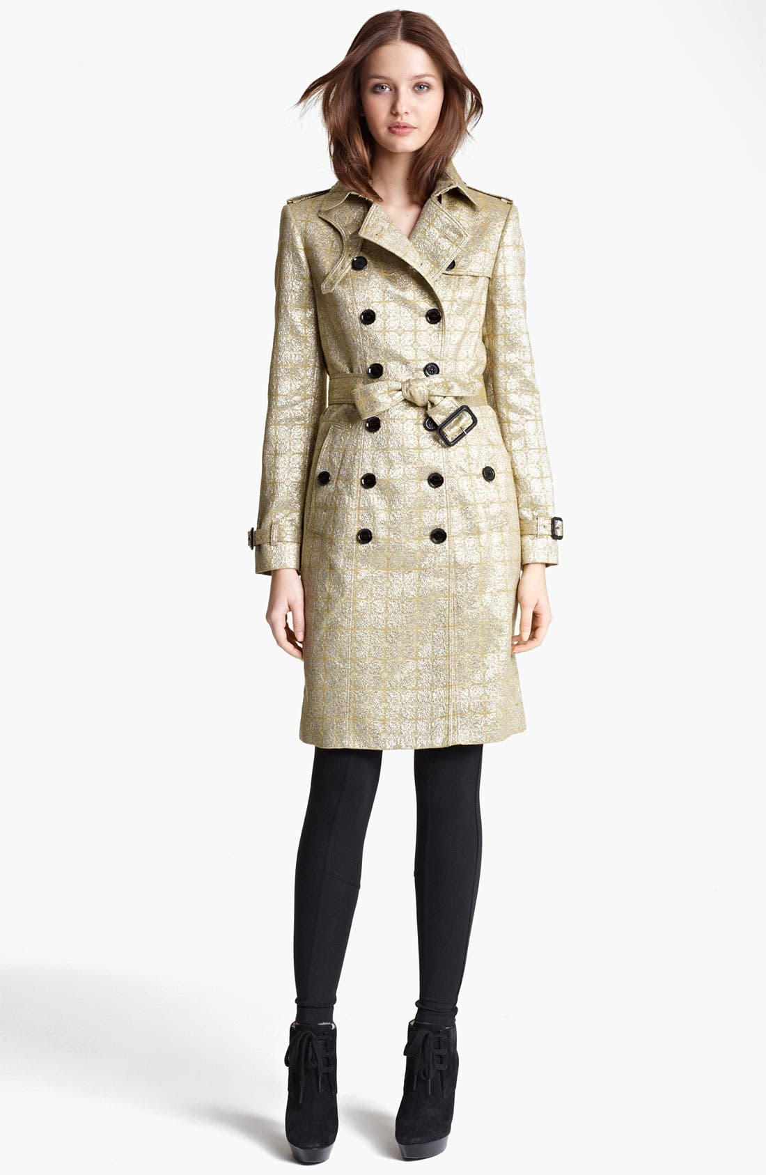 Alternate Image 1 Selected - Burberry London Belted Metallic Jacquard Trench Coat
