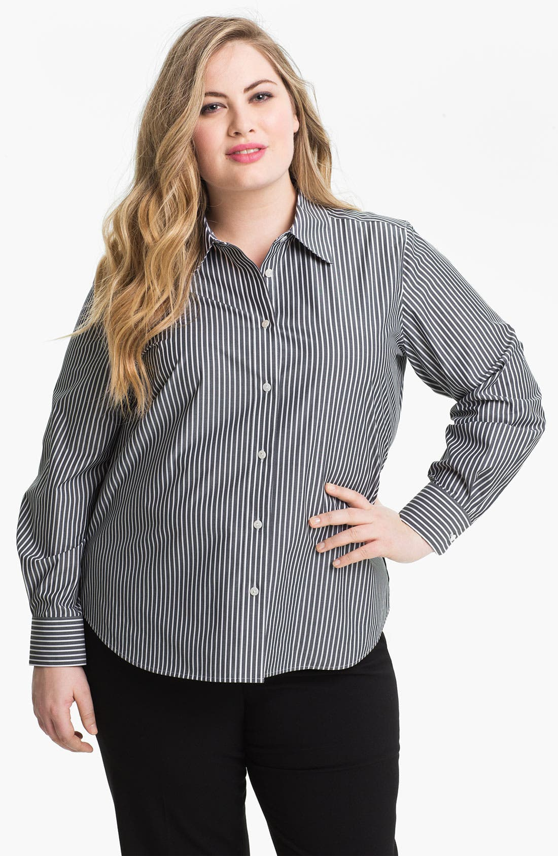 Alternate Image 1 Selected - Foxcroft Stripe Shaped Shirt (Plus)