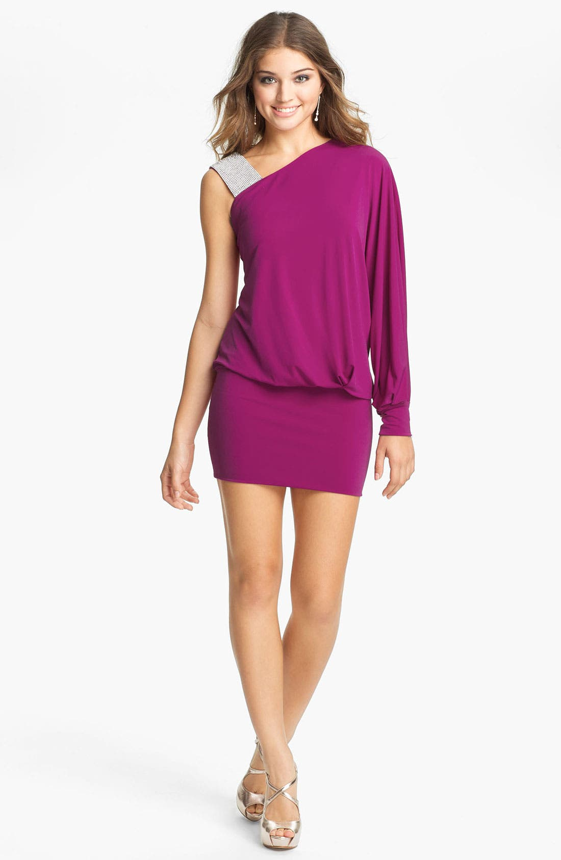 Main Image - Julian Joyce Embellished Strap One Sleeve Blouson Minidress