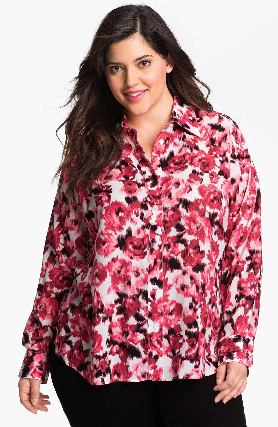 Alternate Image 1 Selected - Foxcroft Rose Print Shirt (Plus Size)
