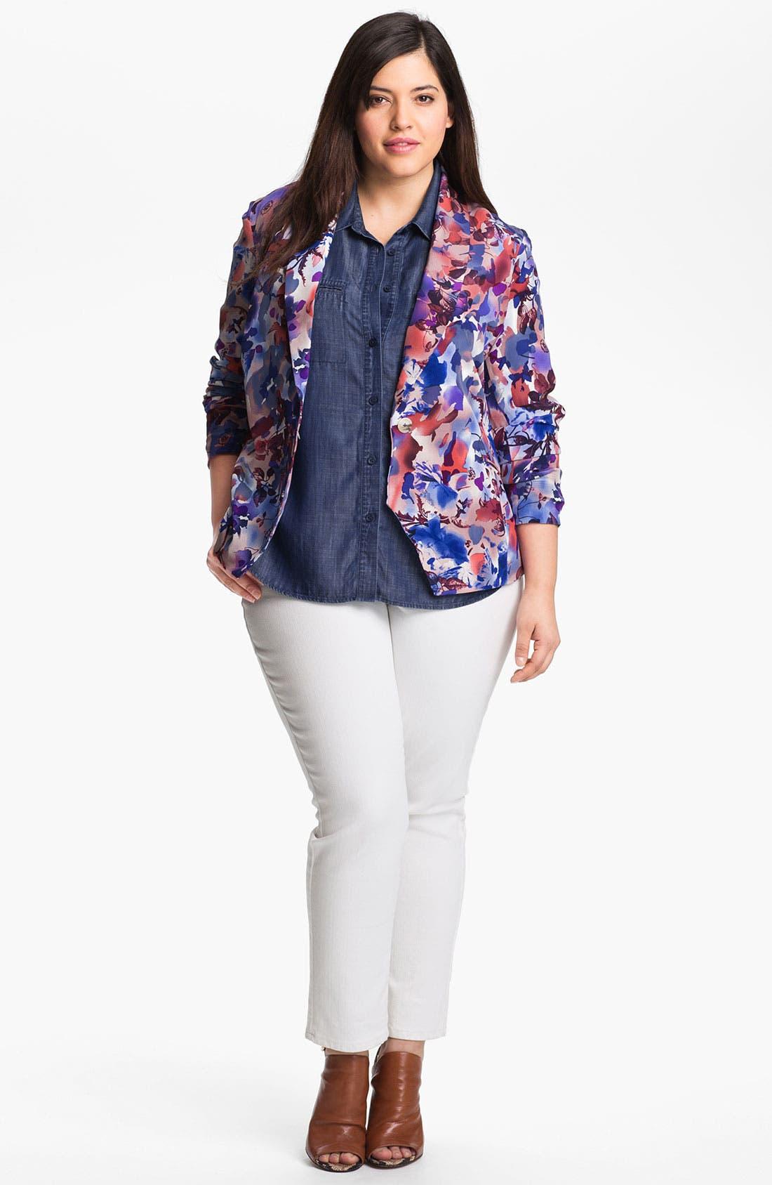 Alternate Image 4  - Foxcroft Roll Sleeve Denim Shirt (Plus Size)
