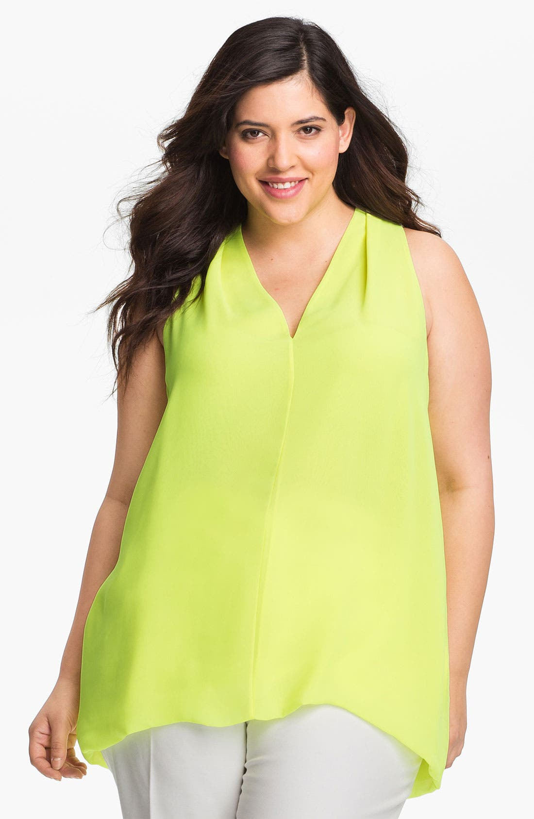 Alternate Image 1 Selected - Vince Camuto Sleeveless V-Neck Blouse (Plus Size)