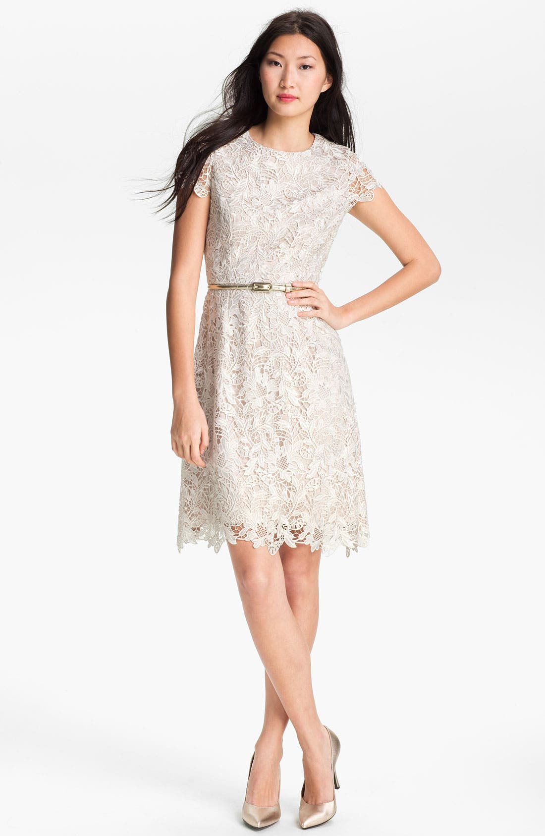 Main Image - Eliza J Belted Lace Dress