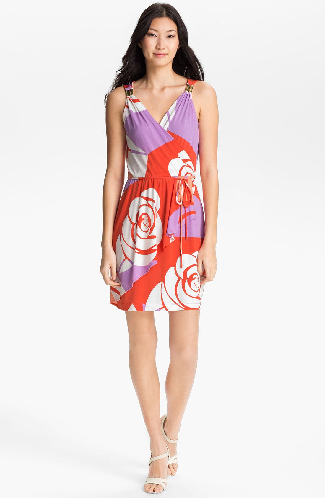 Main Image - Donna Morgan 'Tinsley' Print Faux Wrap Dress