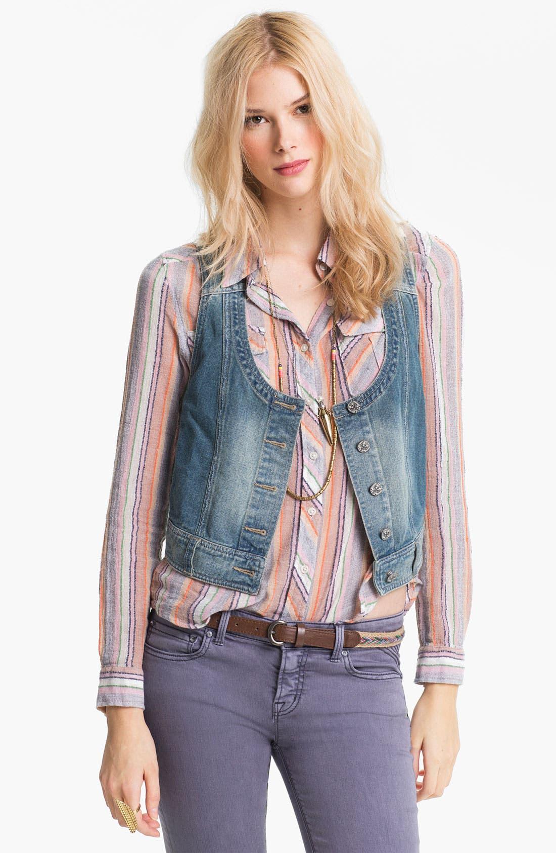 Alternate Image 1 Selected - Free People Battenburg Lace Back Denim Vest
