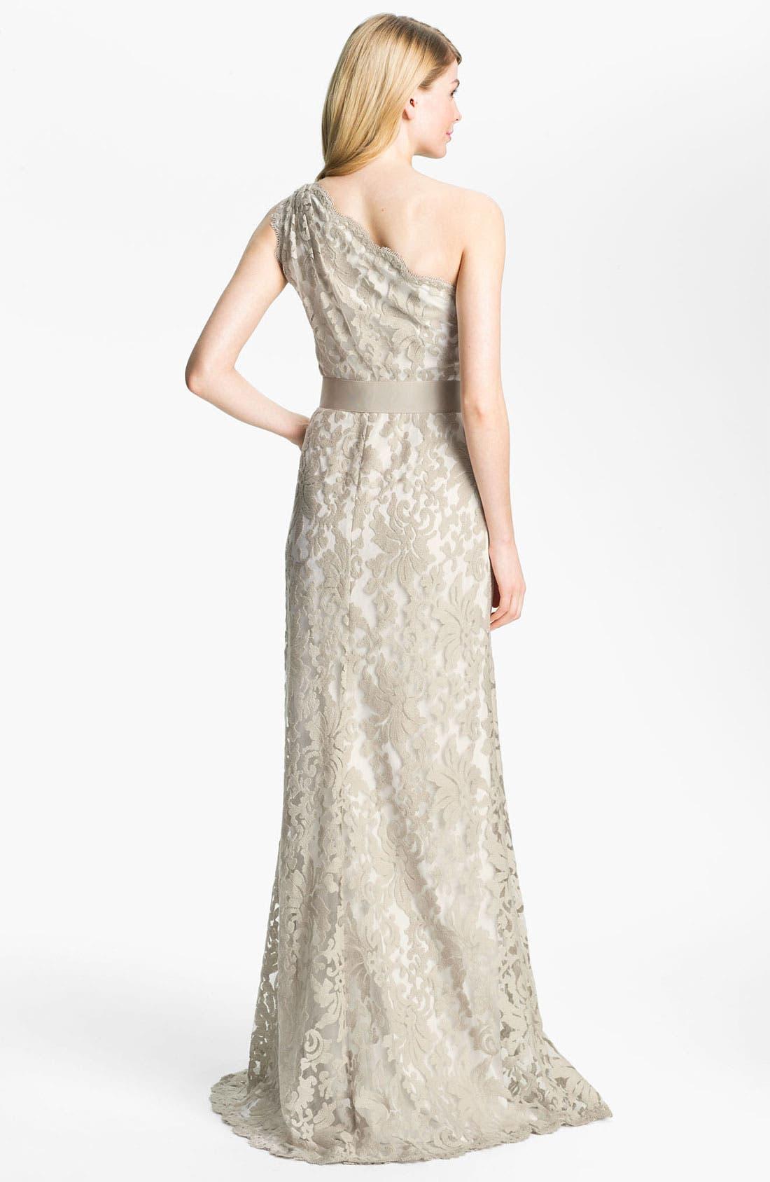Alternate Image 2  - Tadashi Shoji One Shoulder Lace Overlay Tulle Gown