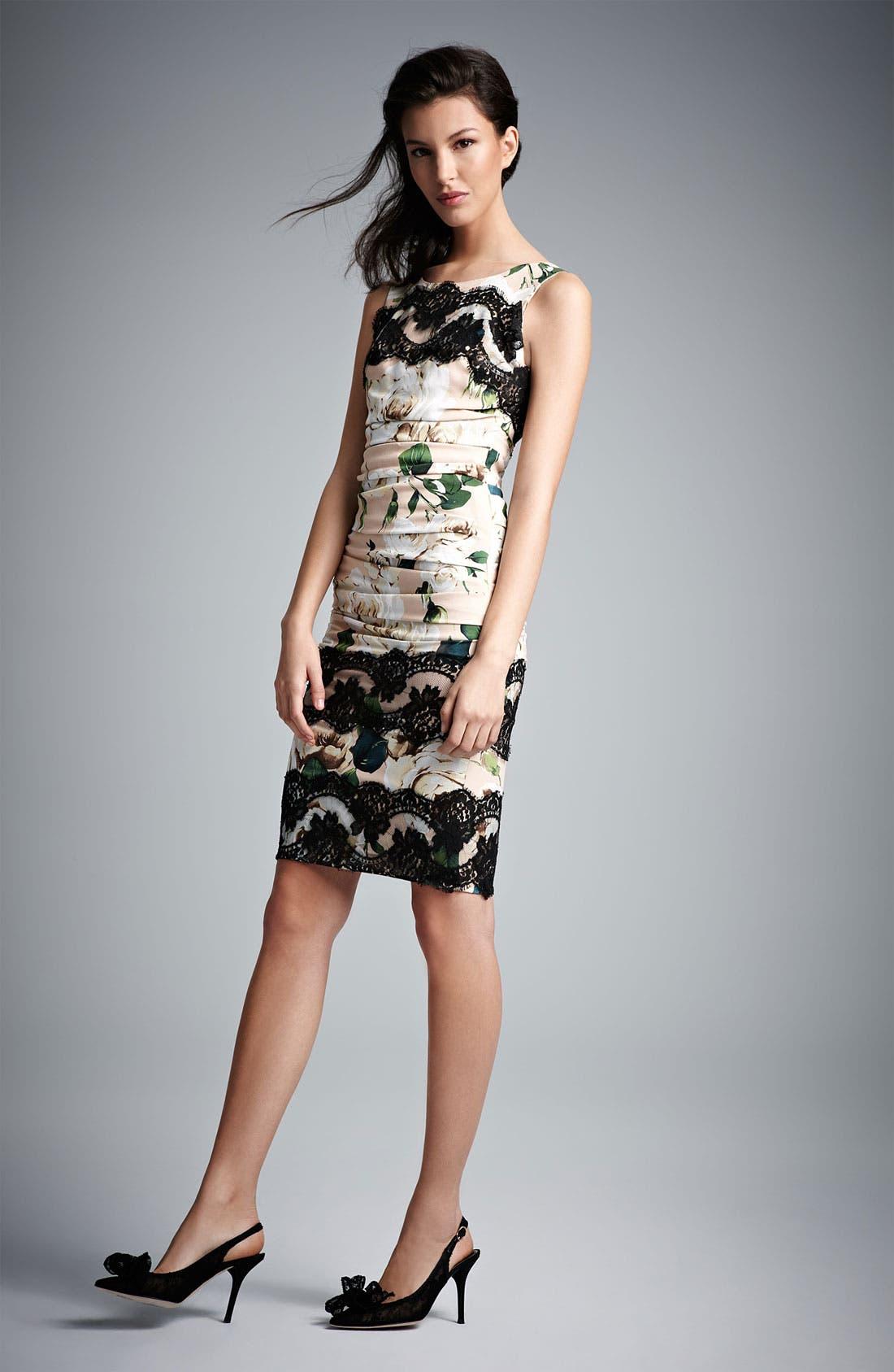 Alternate Image 4  - Dolce&Gabbana Lace Detail Rose Print Dress