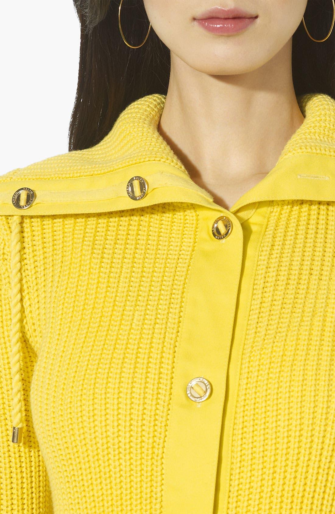 Alternate Image 3  - Lauren Ralph Lauren Drawstring Collar Cardigan
