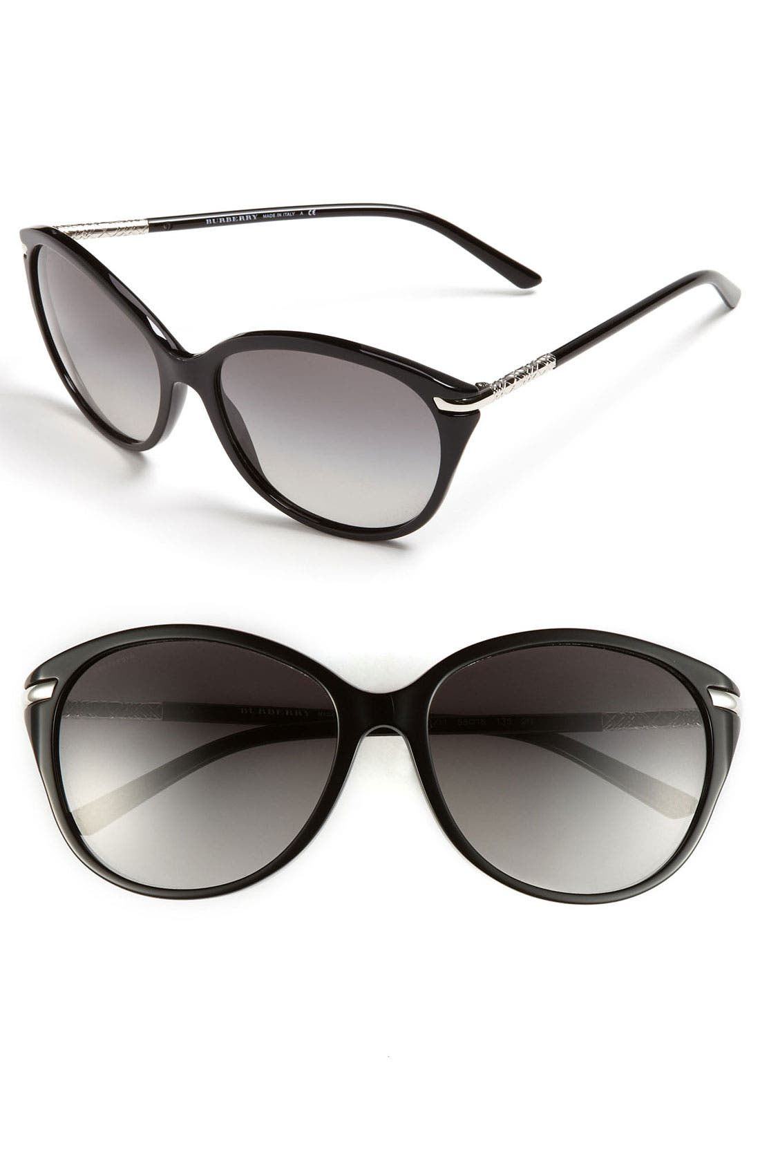Alternate Image 1 Selected - Burberry Check Temple 58mm Sunglasses