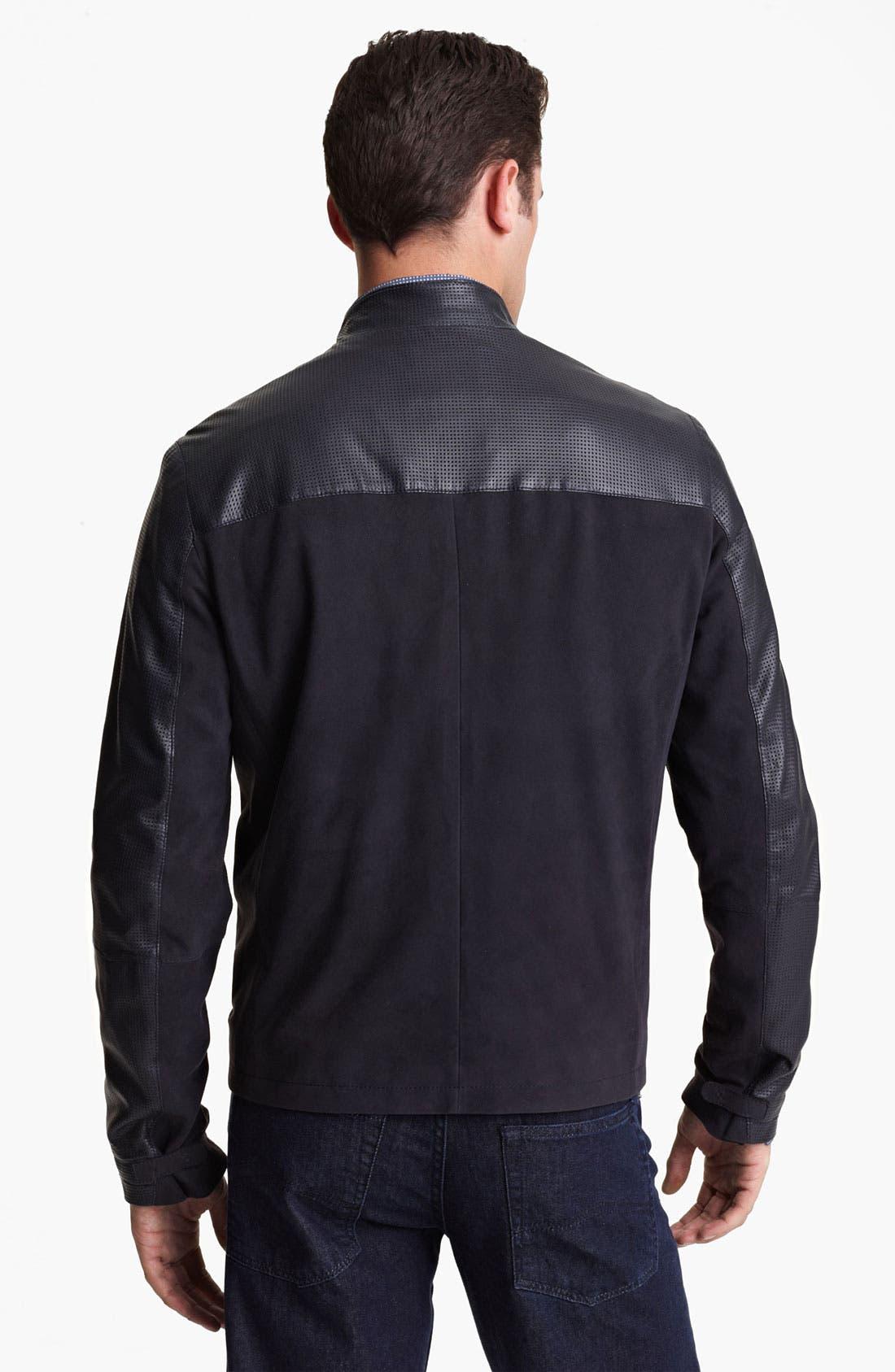 Alternate Image 2  - Armani Collezioni Perforated Lambskin Leather Jacket