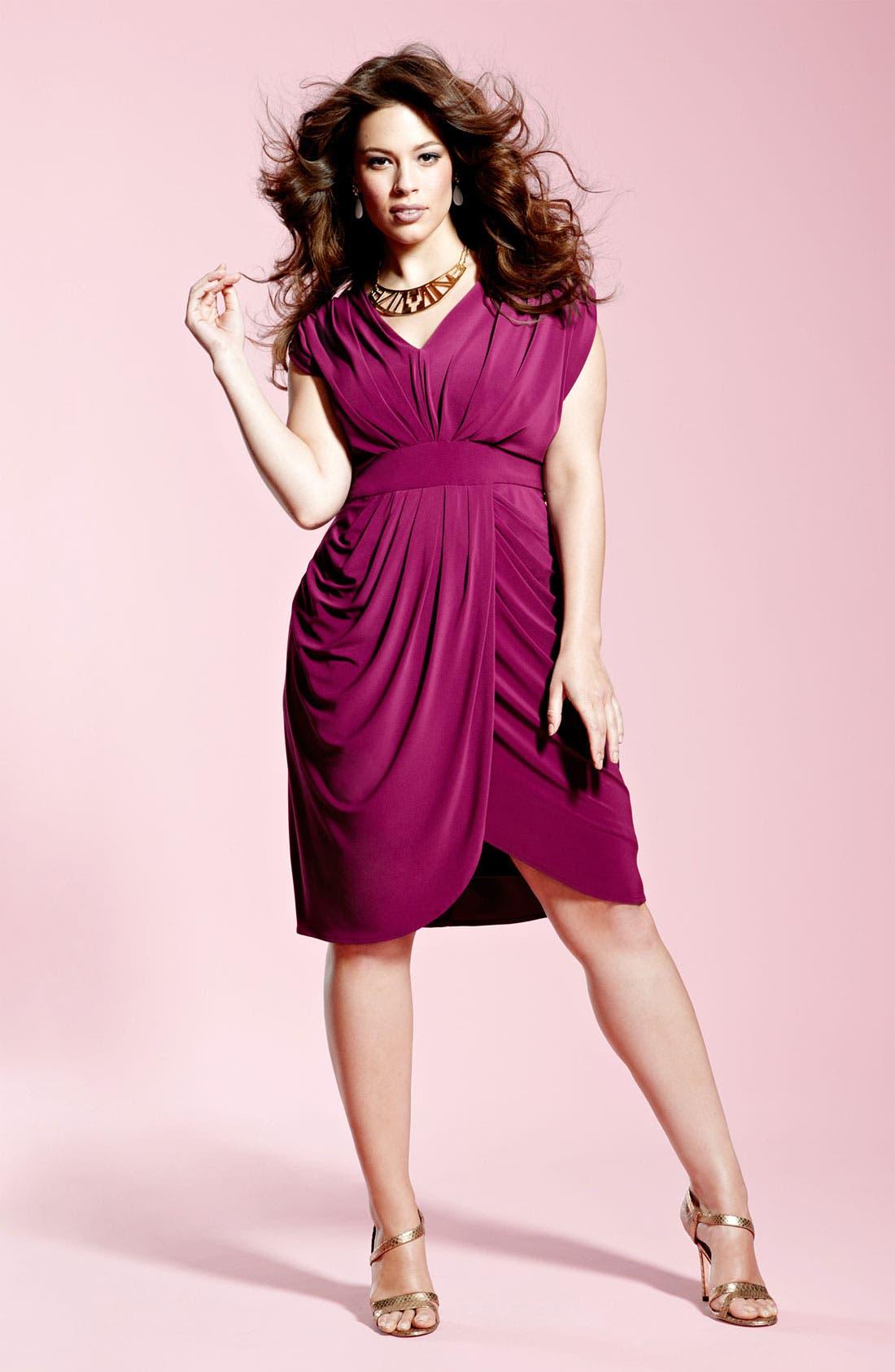 Alternate Image 2  - Suzi Chin for Maggy Boutique V-Neck Faux Wrap Jersey Dress (Plus Size)
