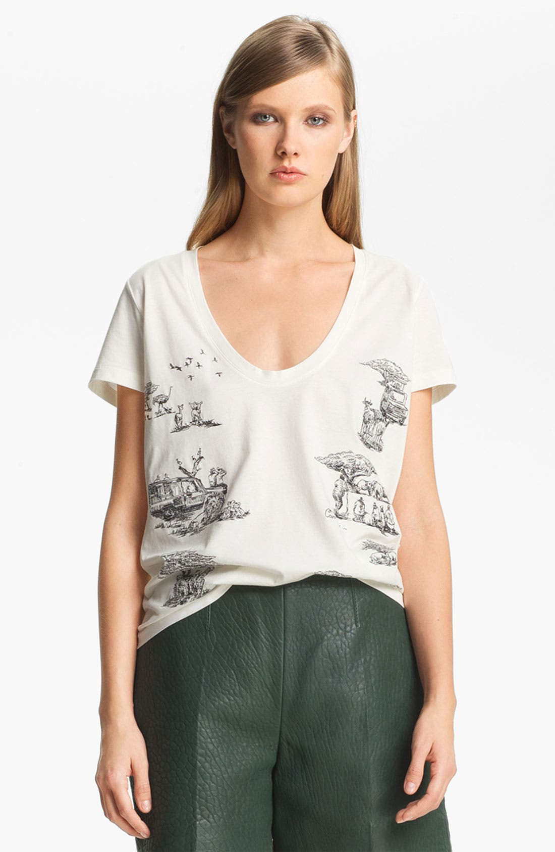 Alternate Image 2  - Carven Embroidered Safari Print Top