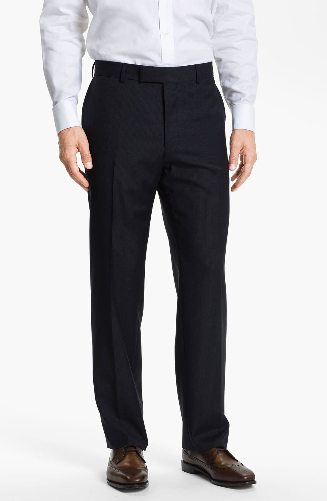 Alternate Image 1 Selected - BOSS Black 'James' Flat Front Trousers