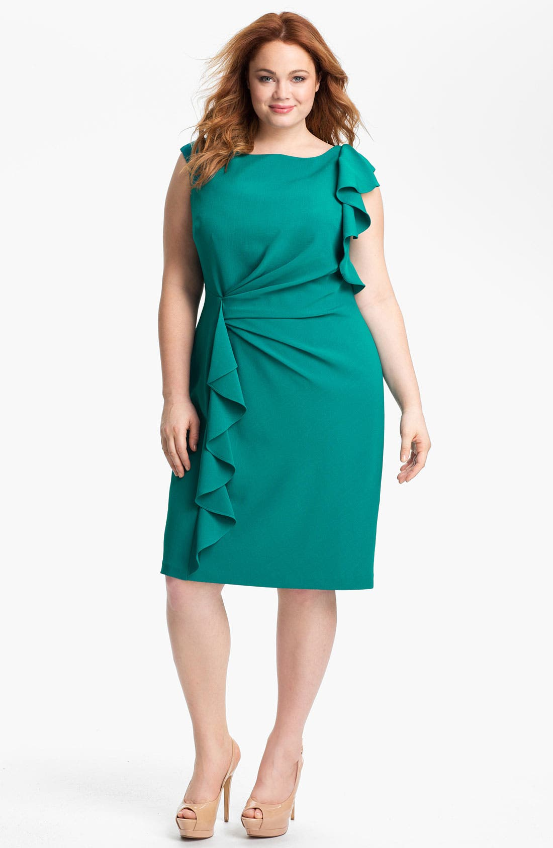 Alternate Image 1 Selected - Adrianna Papell Ruffled Sheath Dress (Plus)