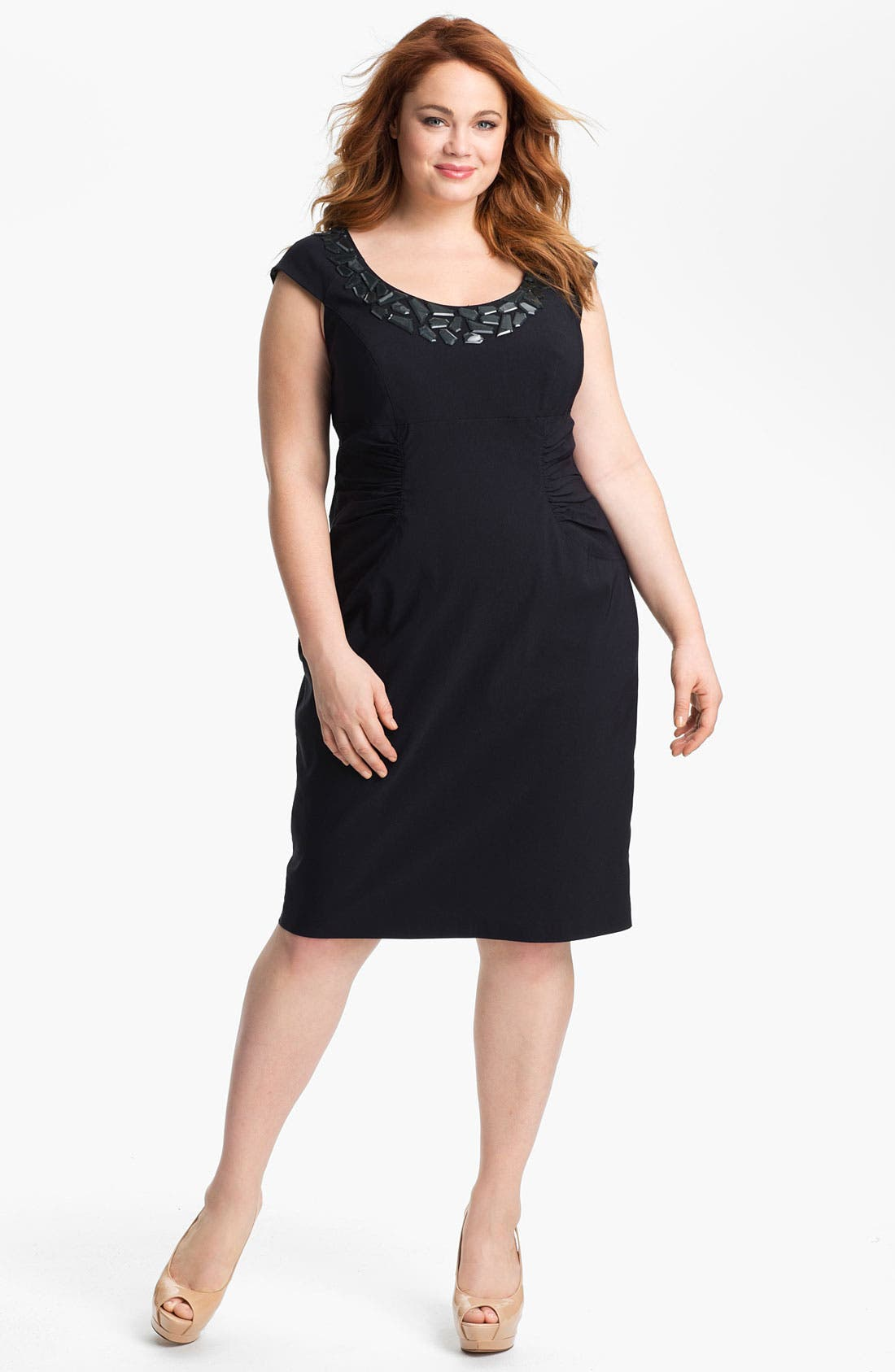 Alternate Image 1 Selected - Adrianna Papell Embellished Ruched Sheath Dress (Plus Size)