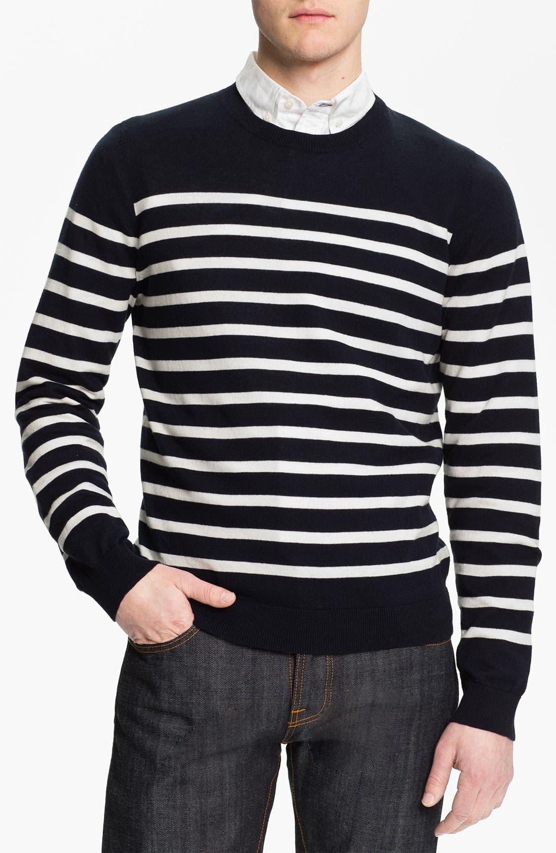 Alternate Image 1 Selected - Wallin & Bros. 'Drayton Stripe' Crewneck Sweater