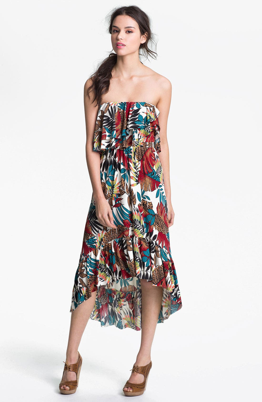 Alternate Image 1 Selected - Tbags Los Angeles Print High/Low Dress