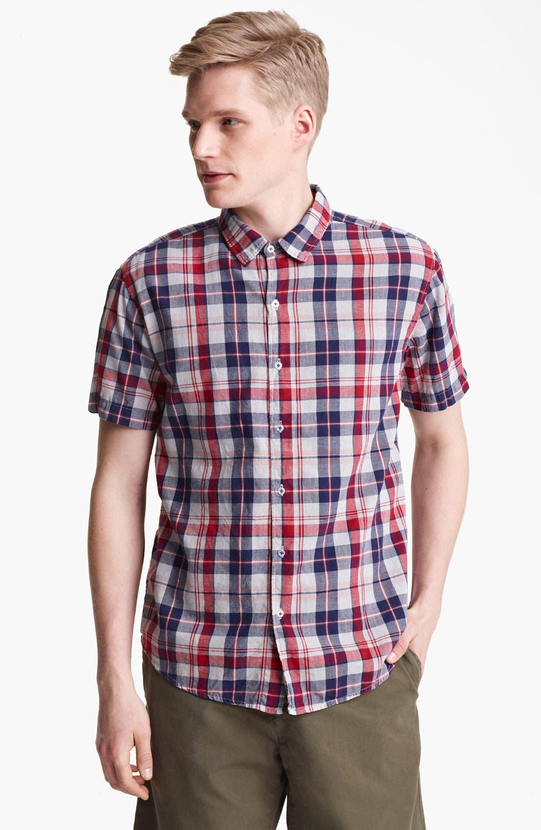 Main Image - Save Khaki Madras Plaid Cotton Shirt