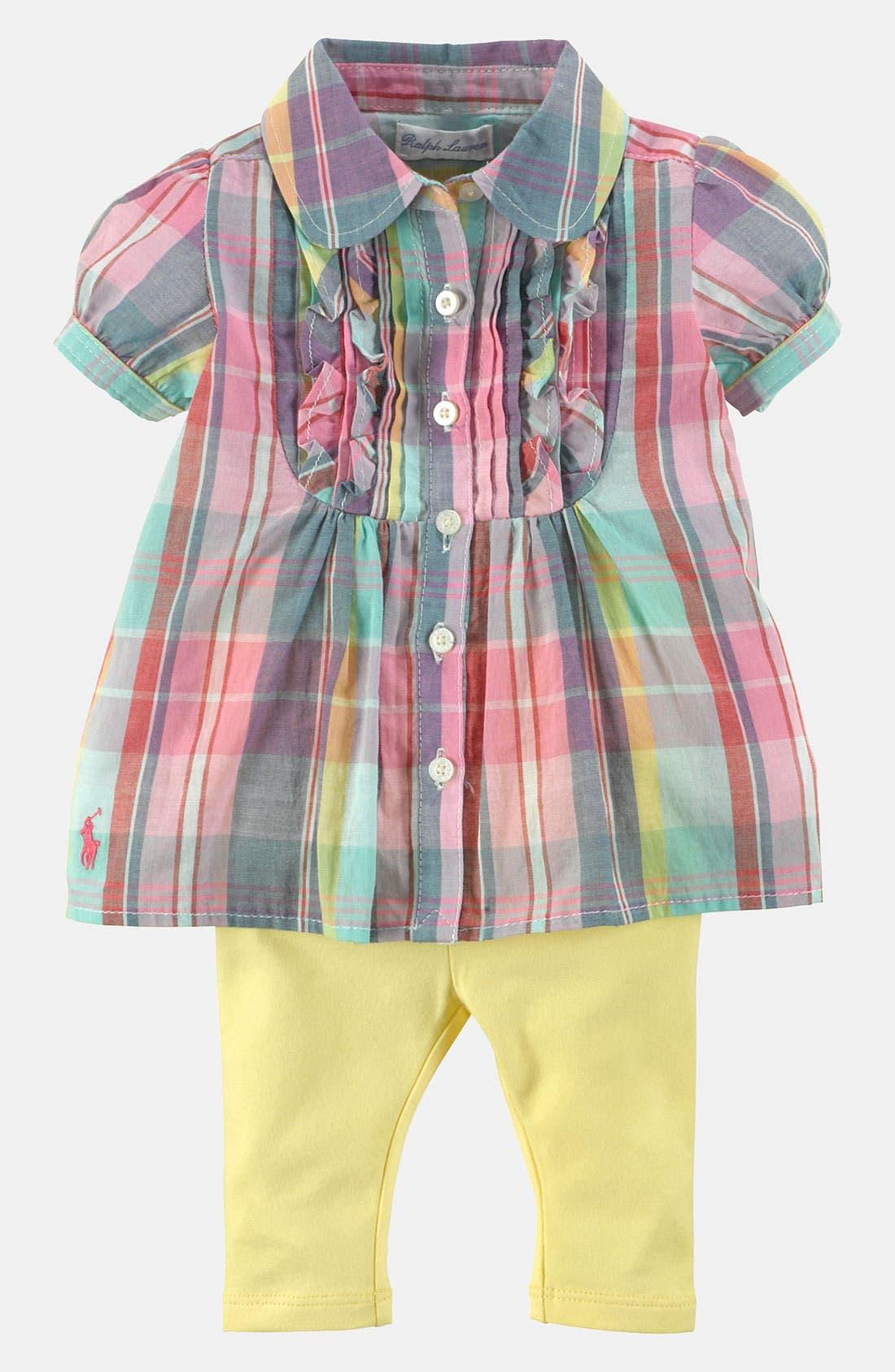 Alternate Image 1 Selected - Ralph Lauren Madras Plaid Tunic & Leggings (Baby)