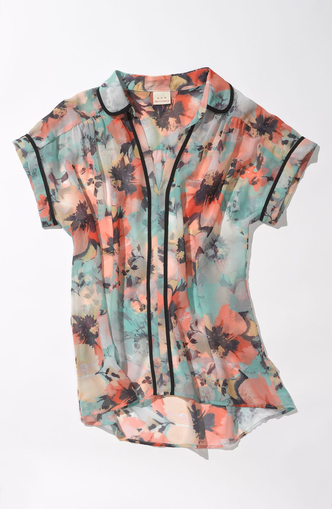 Alternate Image 4  - Ace Delivery Floral Print Collar Top