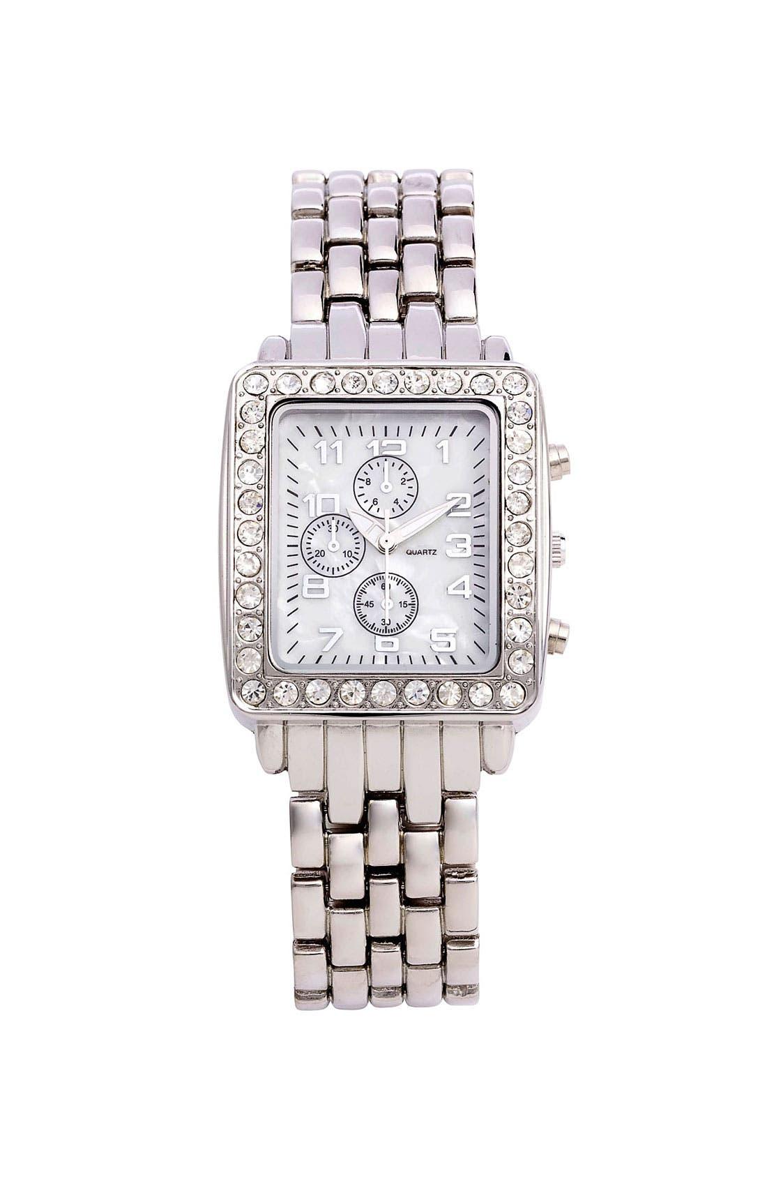 Alternate Image 1 Selected - Titanium Rhinestone Frame Metal Watch