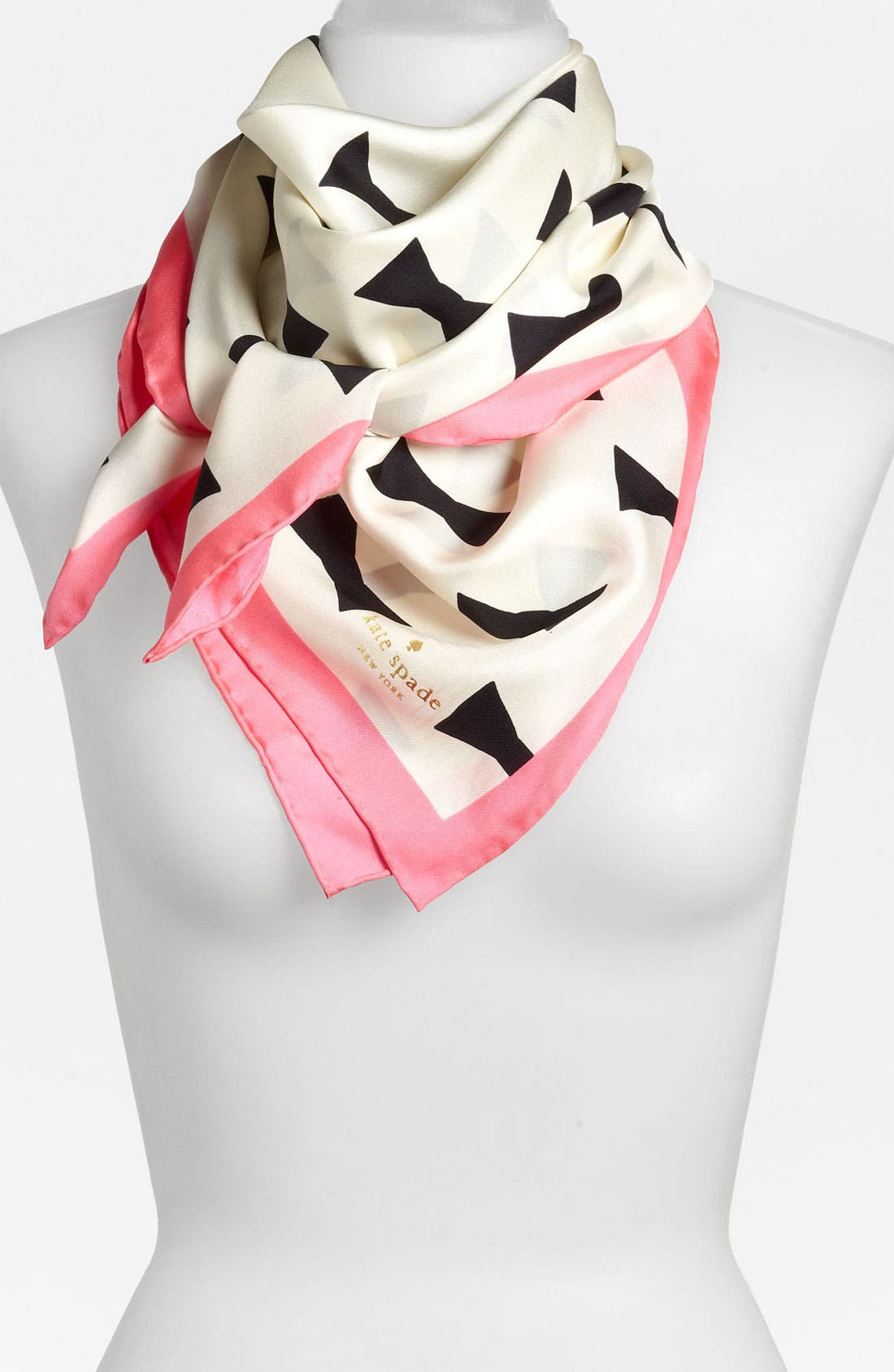 Main Image - kate spade new york 'bow tie - large' silk scarf
