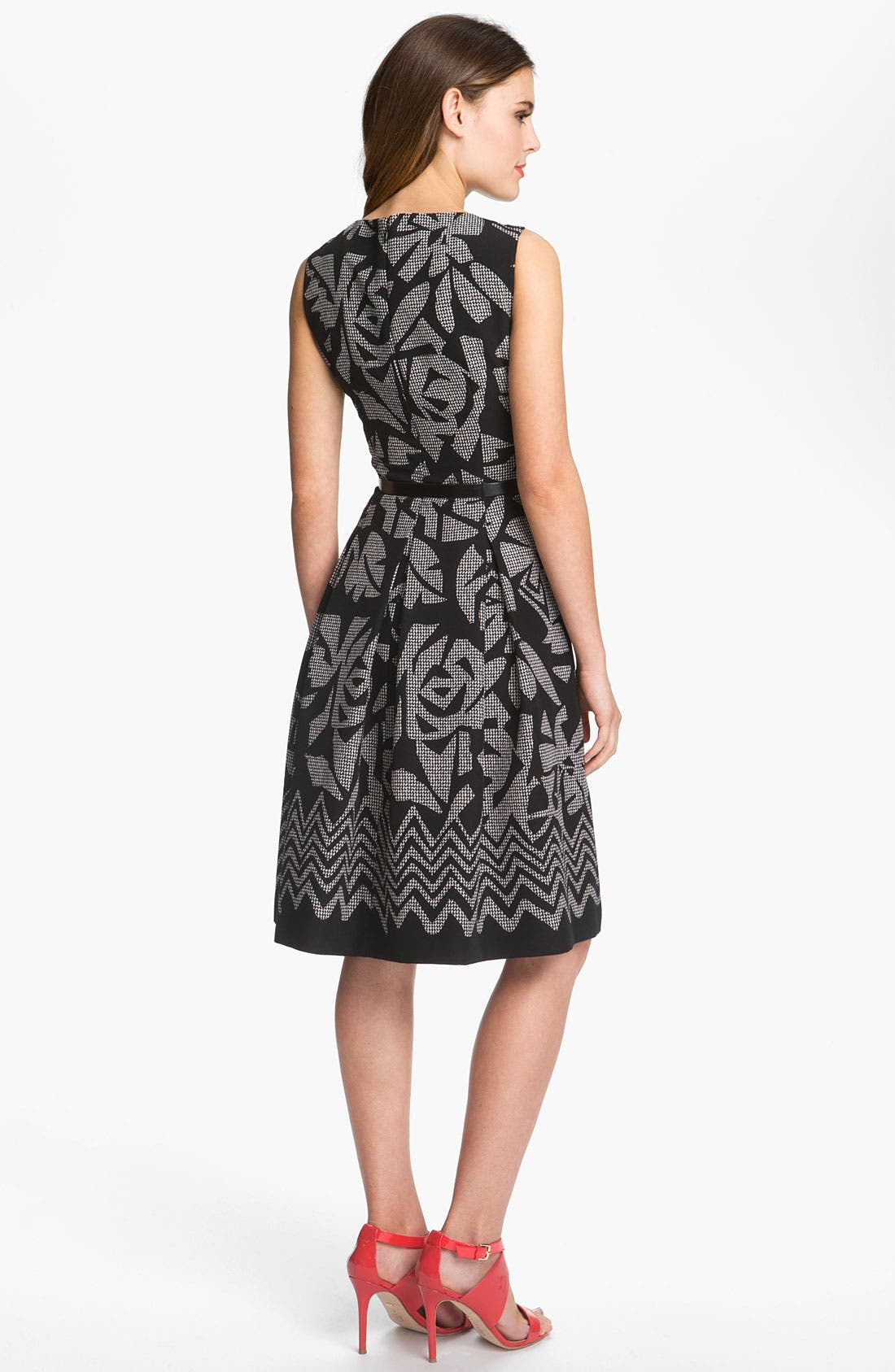 Alternate Image 2  - Tahari Pleated Print Twill Dress