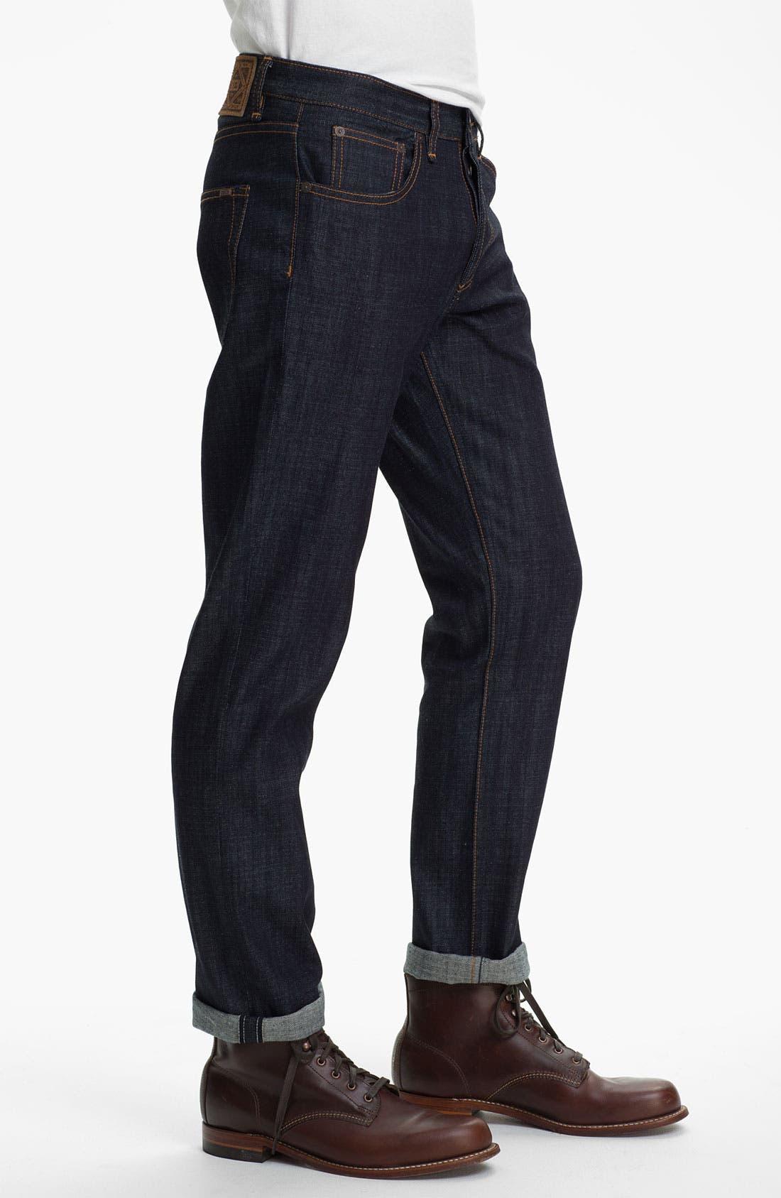 Alternate Image 3  - Obey 'Standard Issue' Slim Straight Leg Jeans (Raw Indigo)