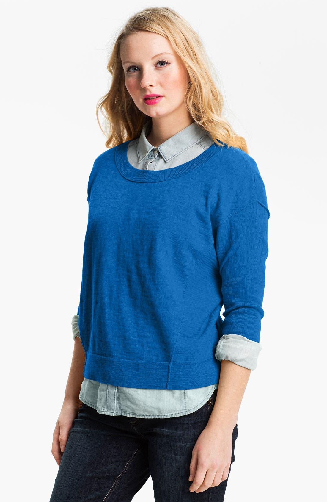 Main Image - Caslon® Slub Crewneck Sweater (Petite)
