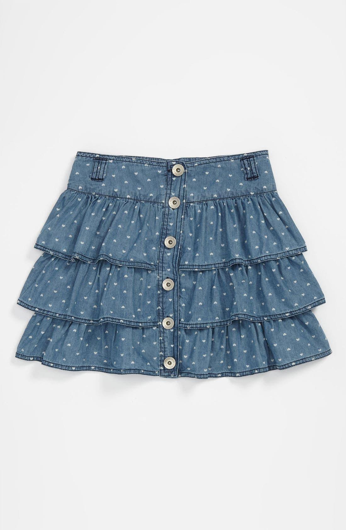 Main Image - Pumpkin Patch Heart Print Chambray Skirt (Little Girls & Big Girls)