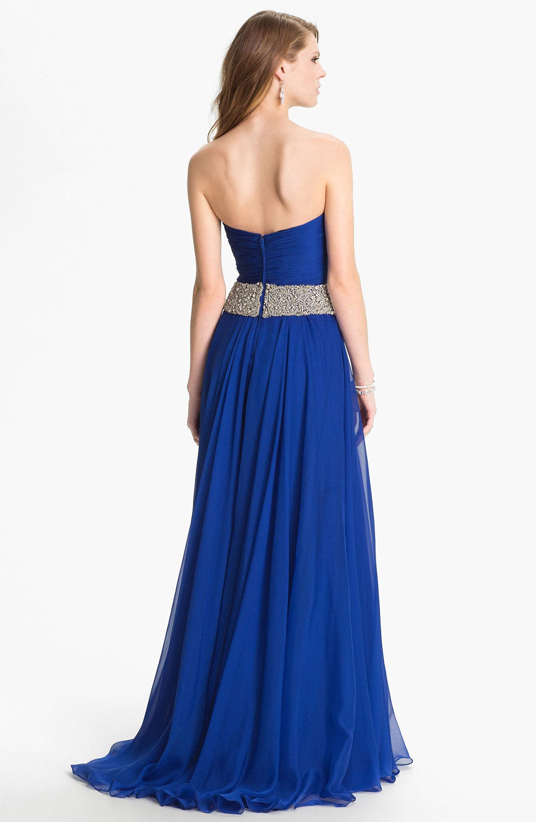 Alternate Image 2  - Sherri Hill 'Gala' Embellished Strapless Chiffon Gown