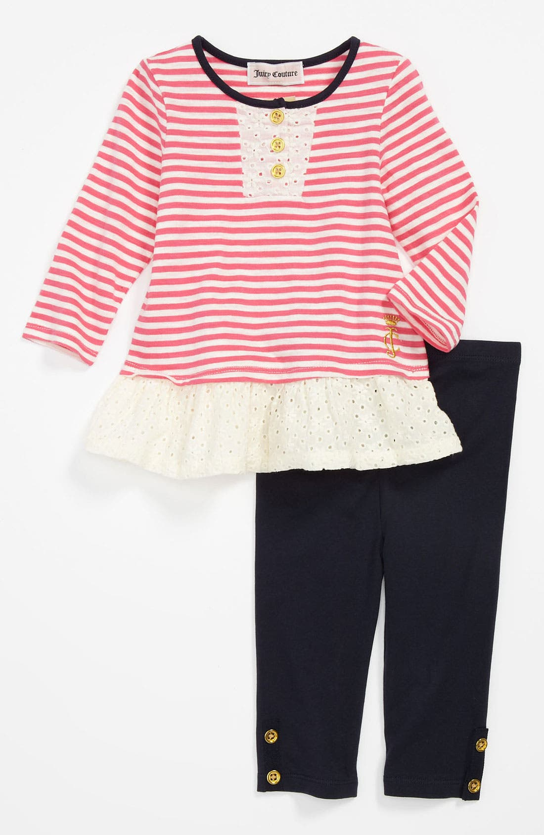 Main Image - Juicy Couture Stripe Tunic & Leggings (Infant)