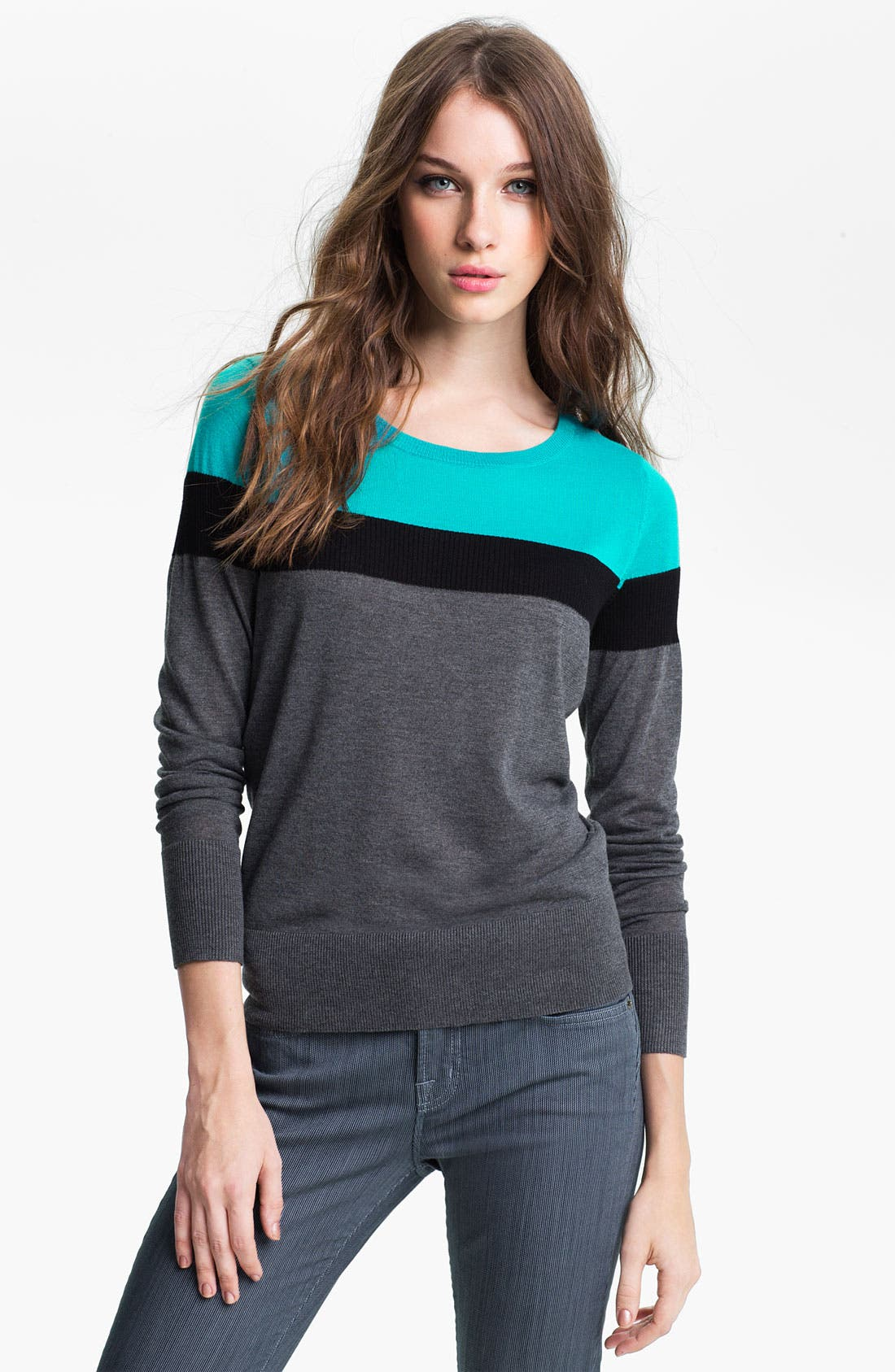 Main Image - Halogen® Colorblock Crewneck Sweater (Petite)